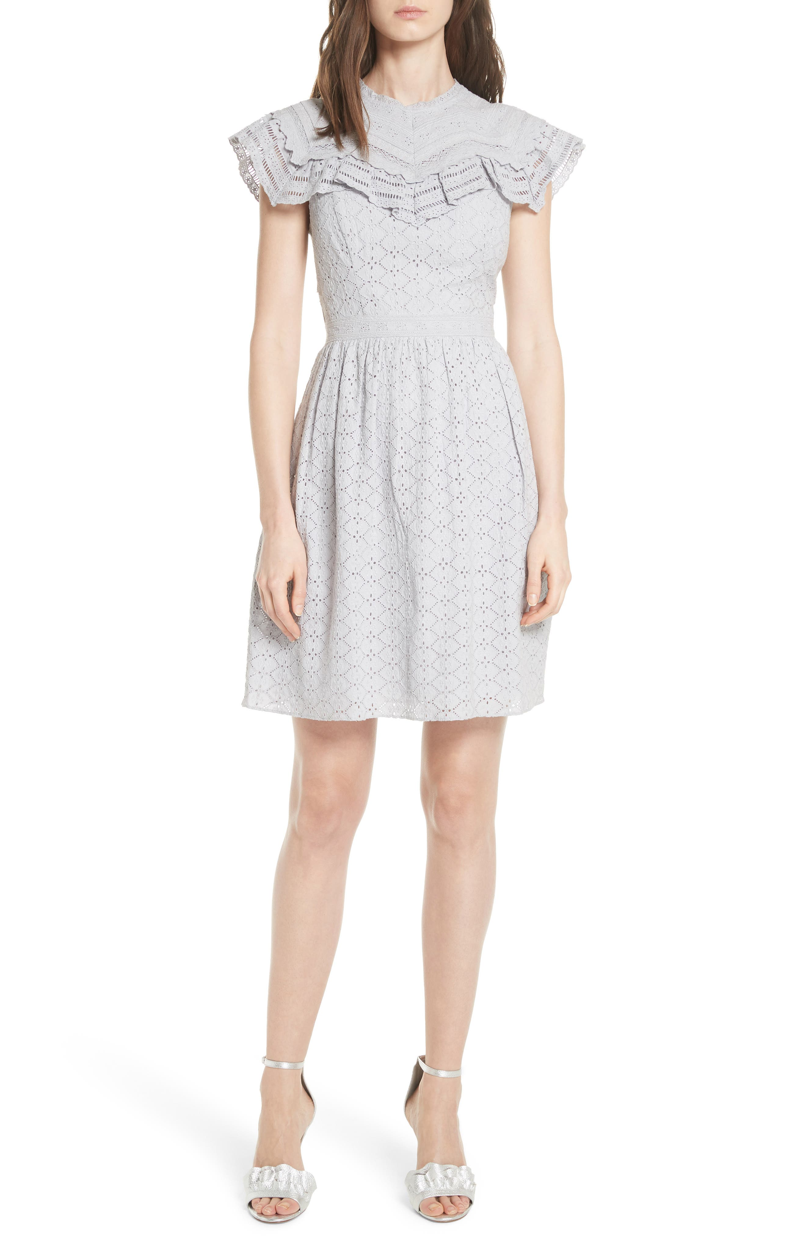Tiled Broderie Anglaise Lace Dress,                         Main,                         color, Dust Lavender