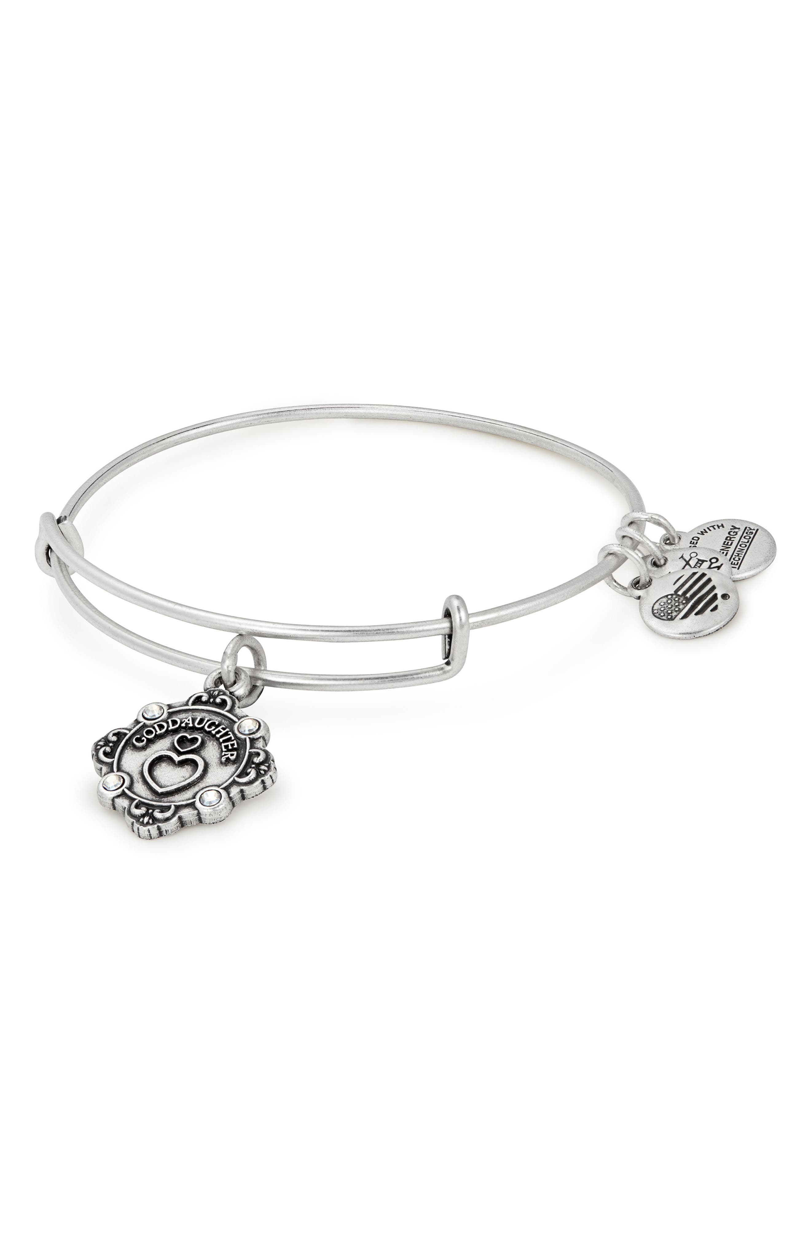 Because I Love You Goddaughter Charm Bangle,                         Main,                         color, Silver