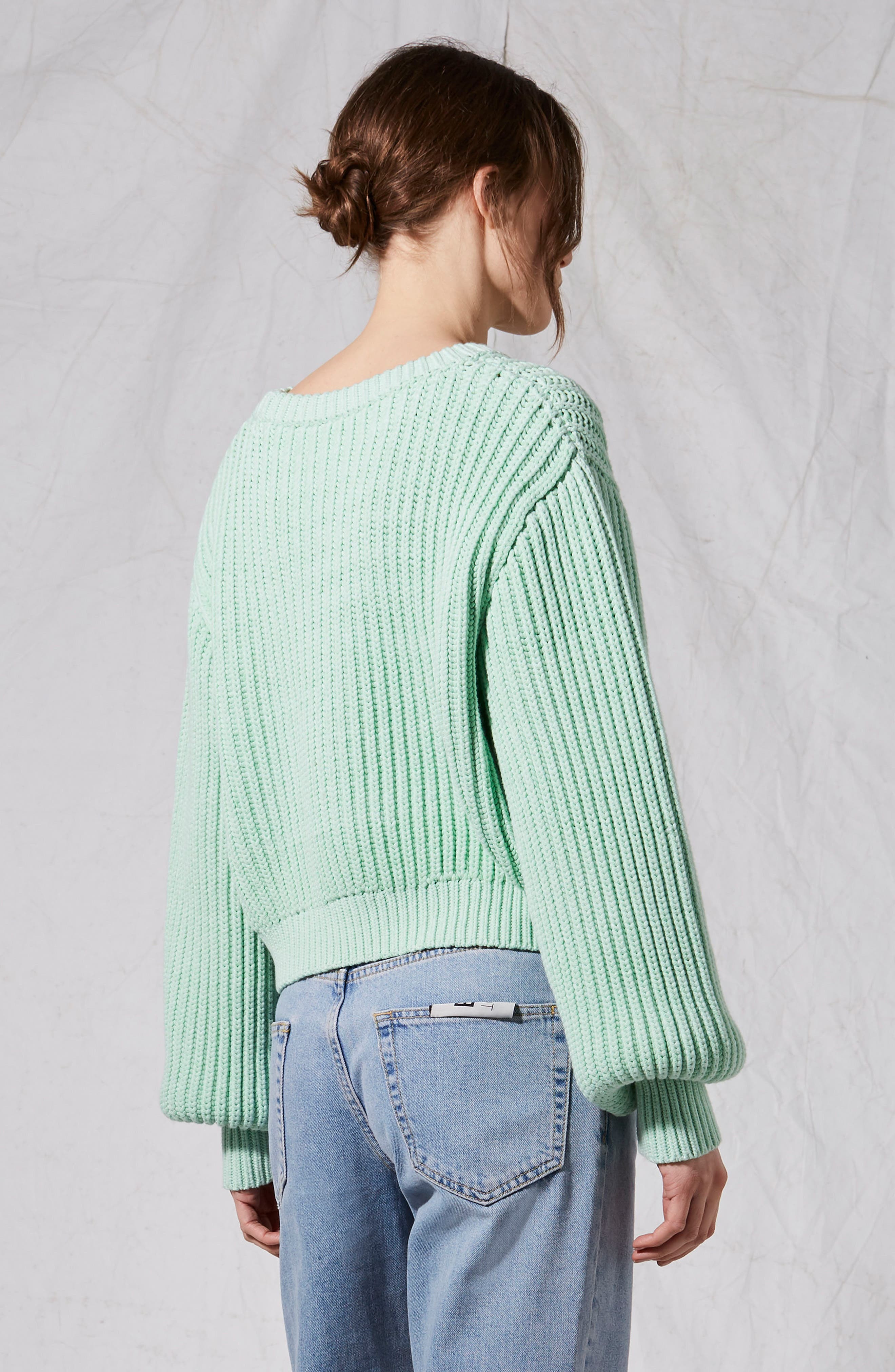 Fisherman Crewneck Sweater,                             Alternate thumbnail 2, color,                             Light Green