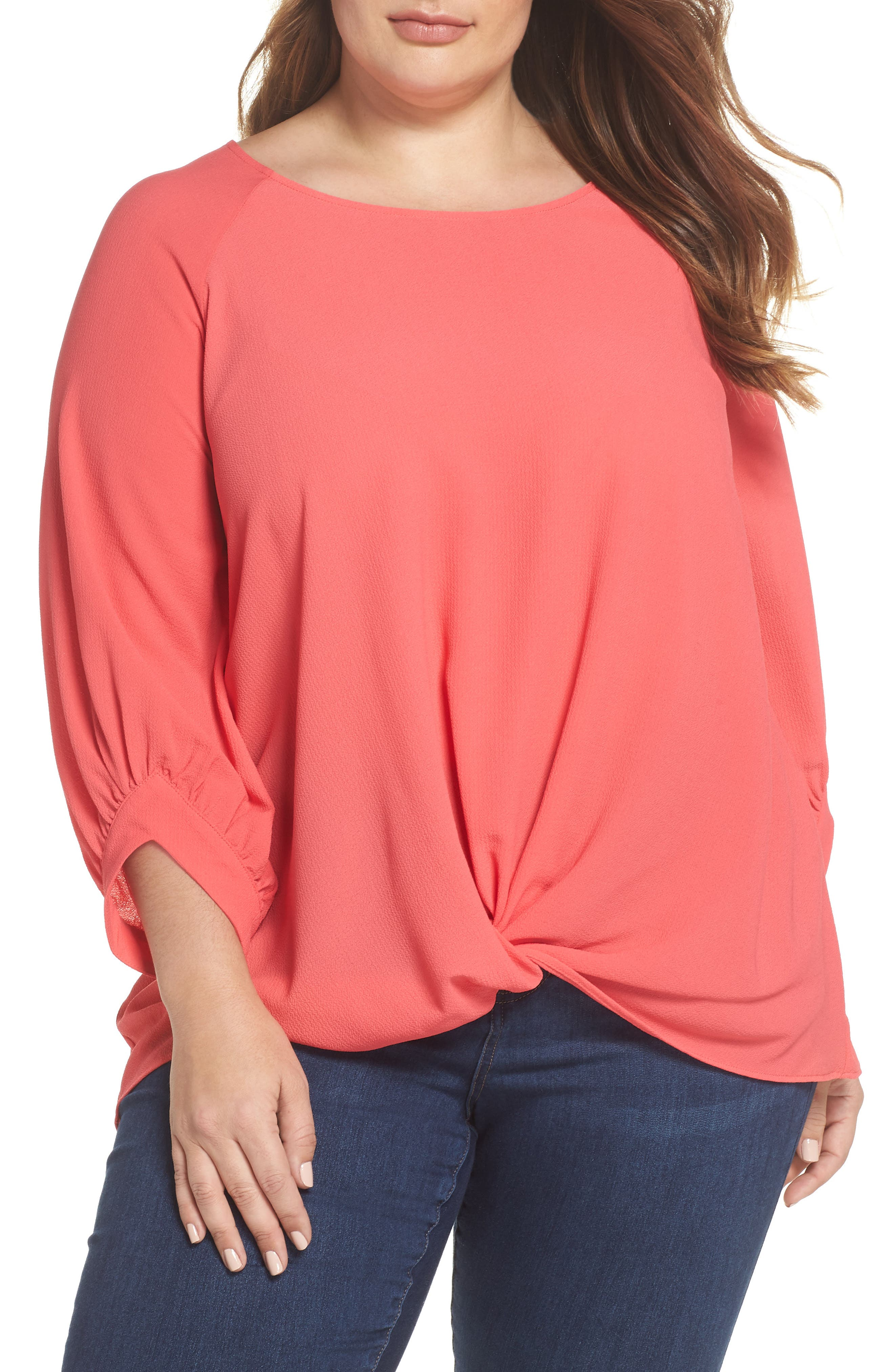 x Living in Yellow Maggie Twist Hem Top,                             Main thumbnail 1, color,                             Poppy