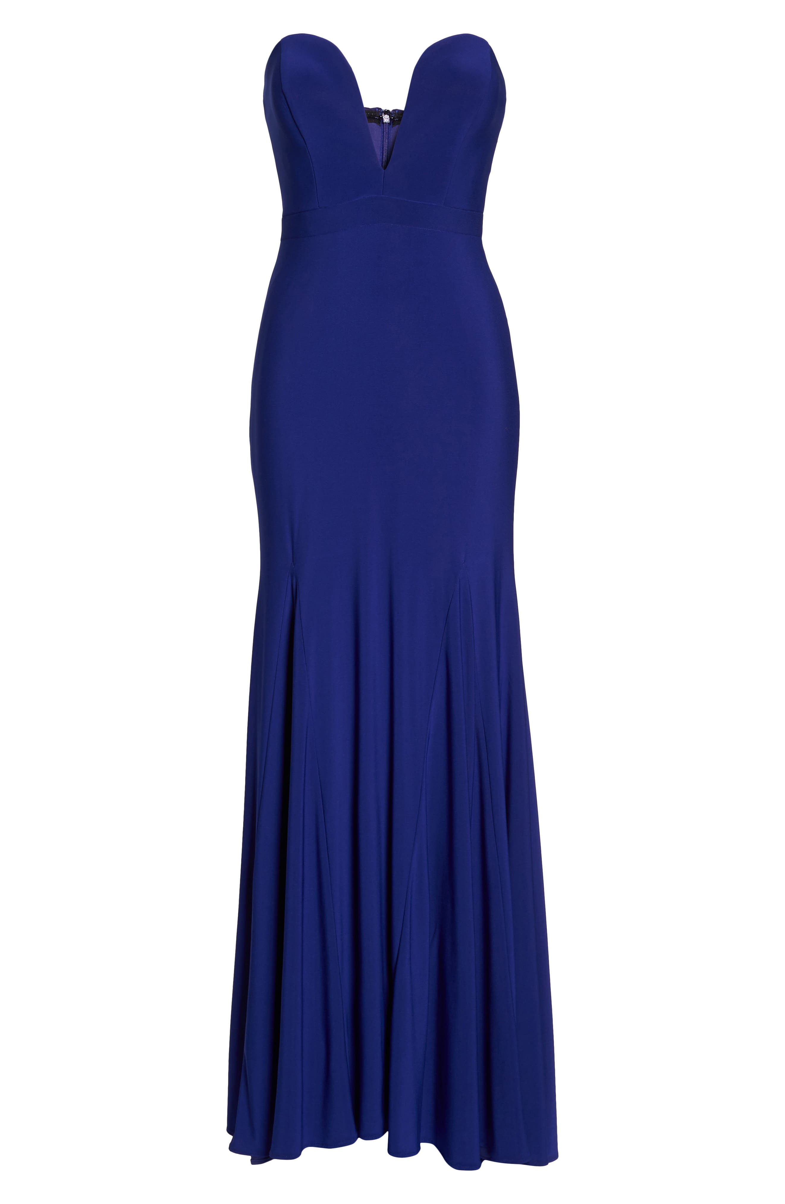 Bustier Strapless Gown,                             Alternate thumbnail 6, color,                             Electric Blue