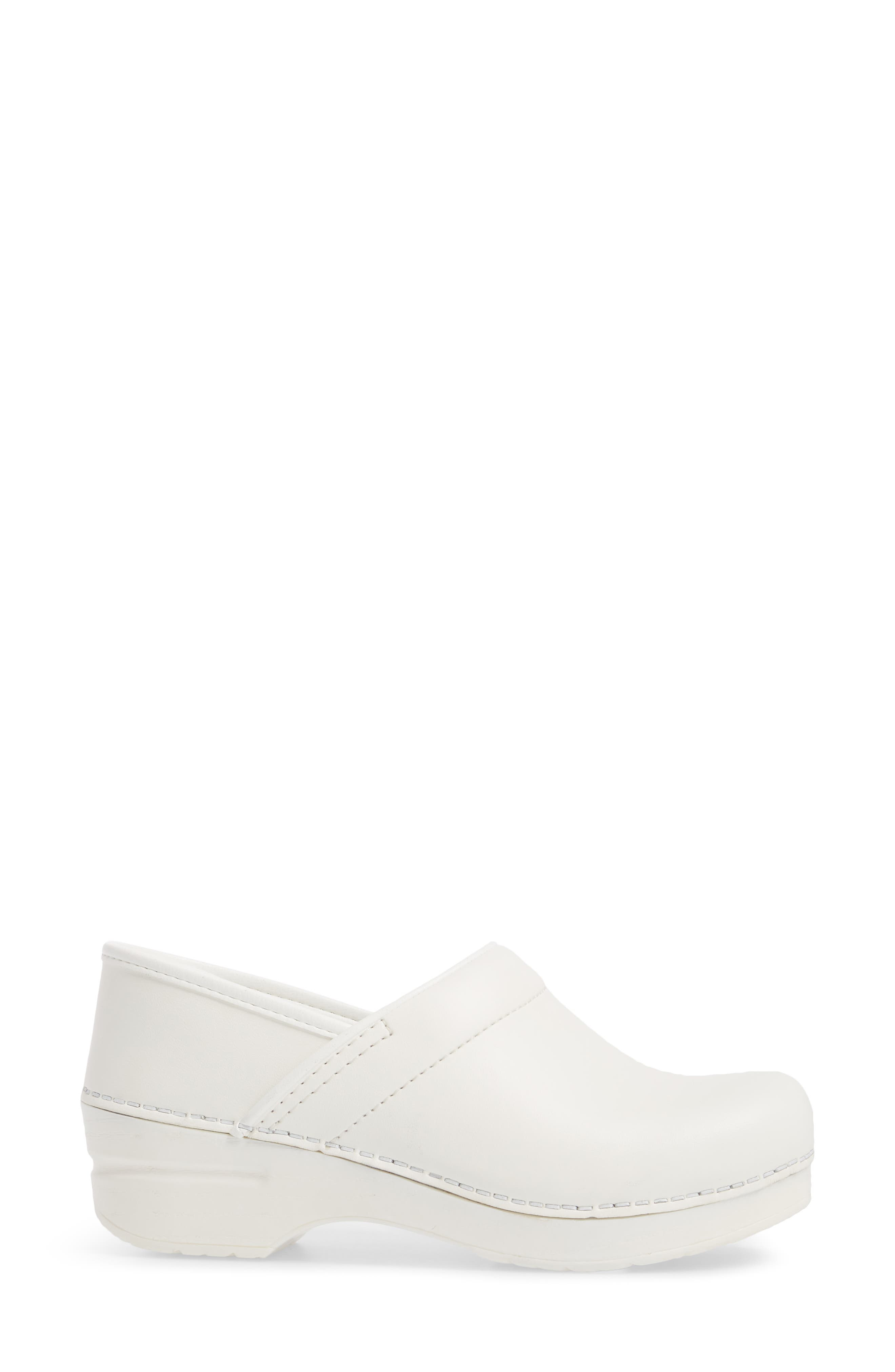 Wide Pro Clog,                             Alternate thumbnail 3, color,                             White Leather