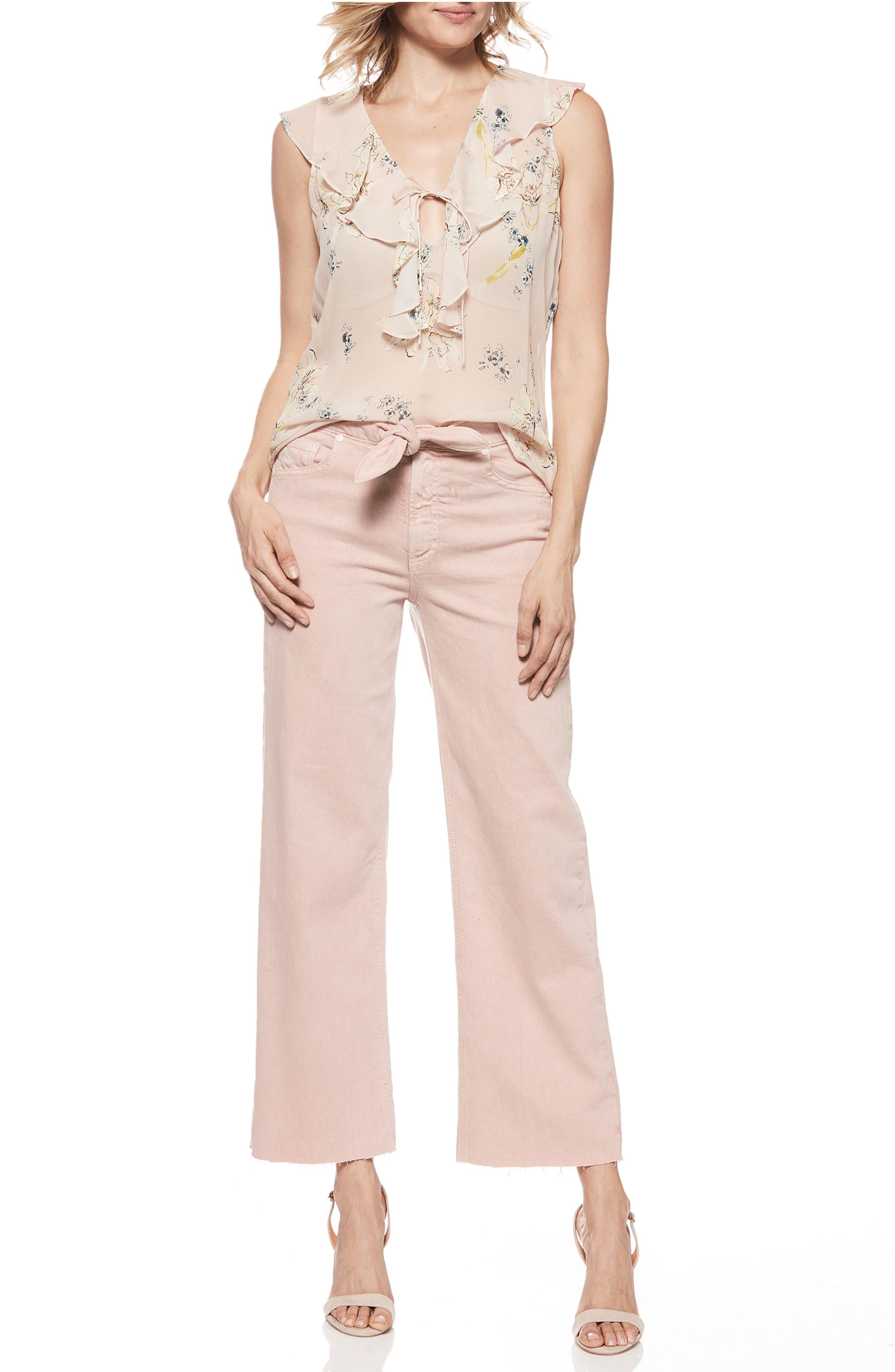 Nellie Knot Raw Hem Culotte Jeans,                             Alternate thumbnail 3, color,                             Vintage California Rose