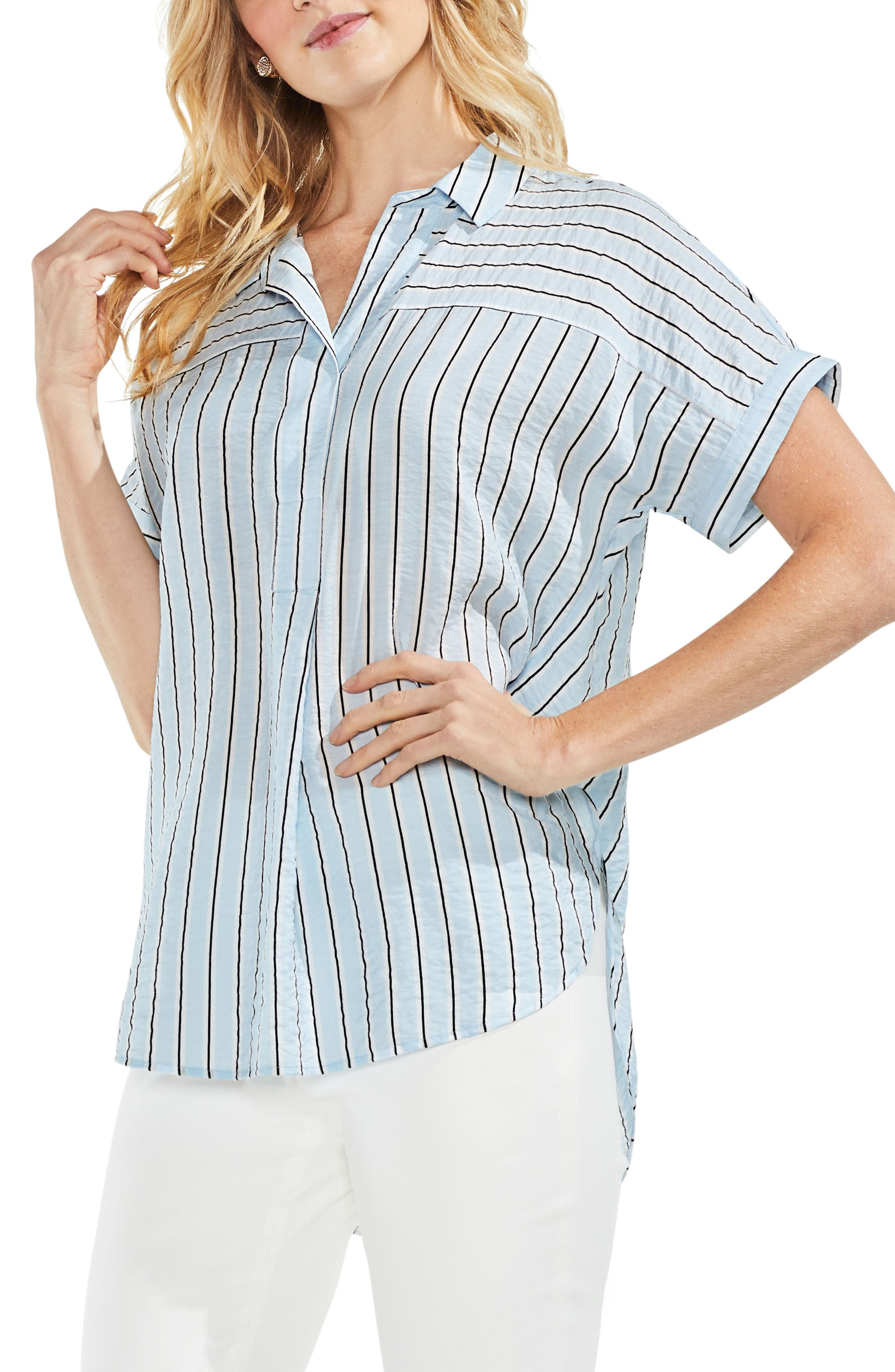 Modern Canopy Stripe Short Sleeve Top,                             Main thumbnail 1, color,                             Chalk Blue