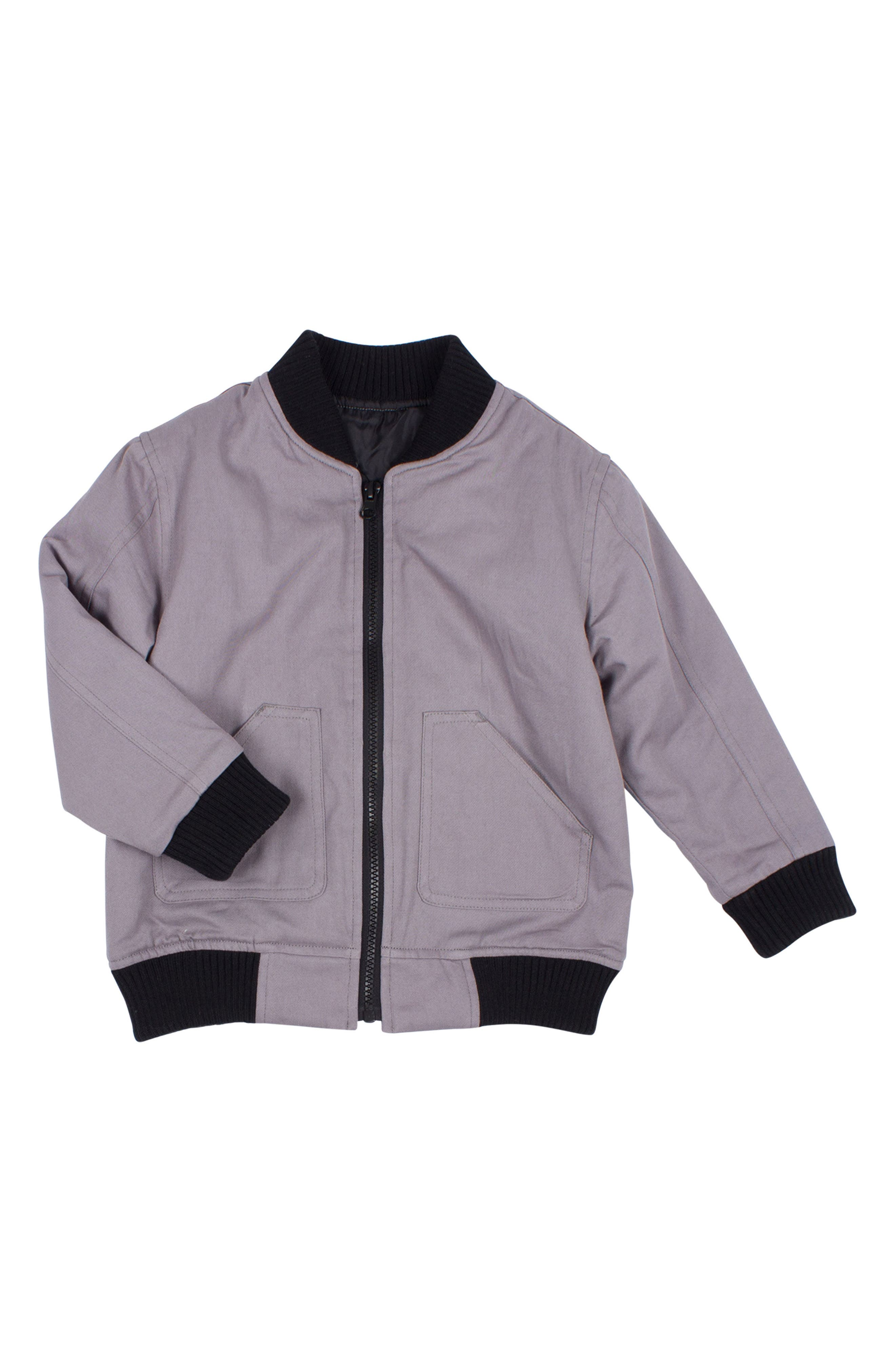 Check You Later Bomber Jacket,                         Main,                         color, Grey