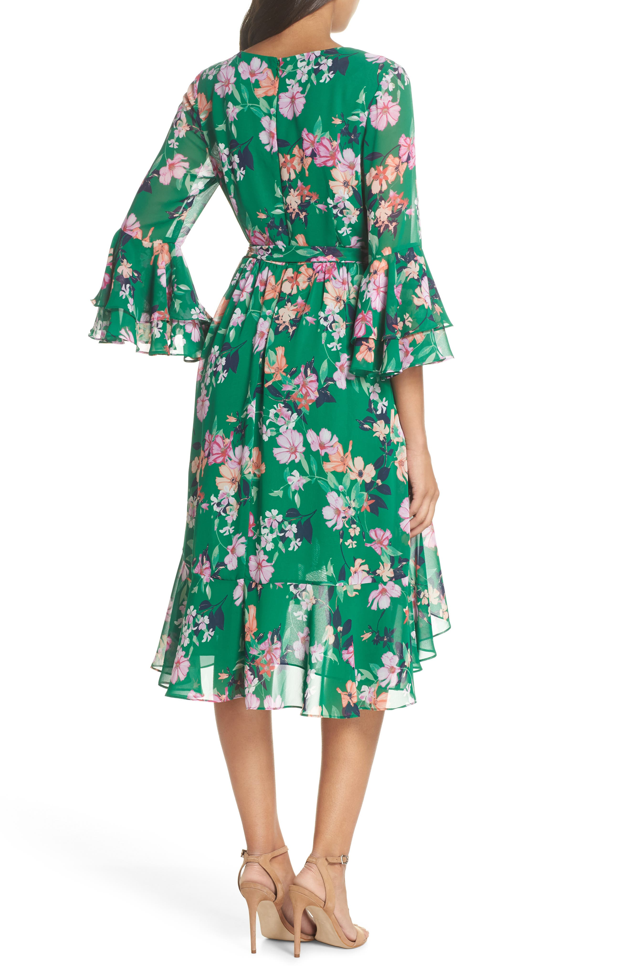 Double Bell Sleeve Faux Wrap Dress,                             Alternate thumbnail 4, color,                             Green