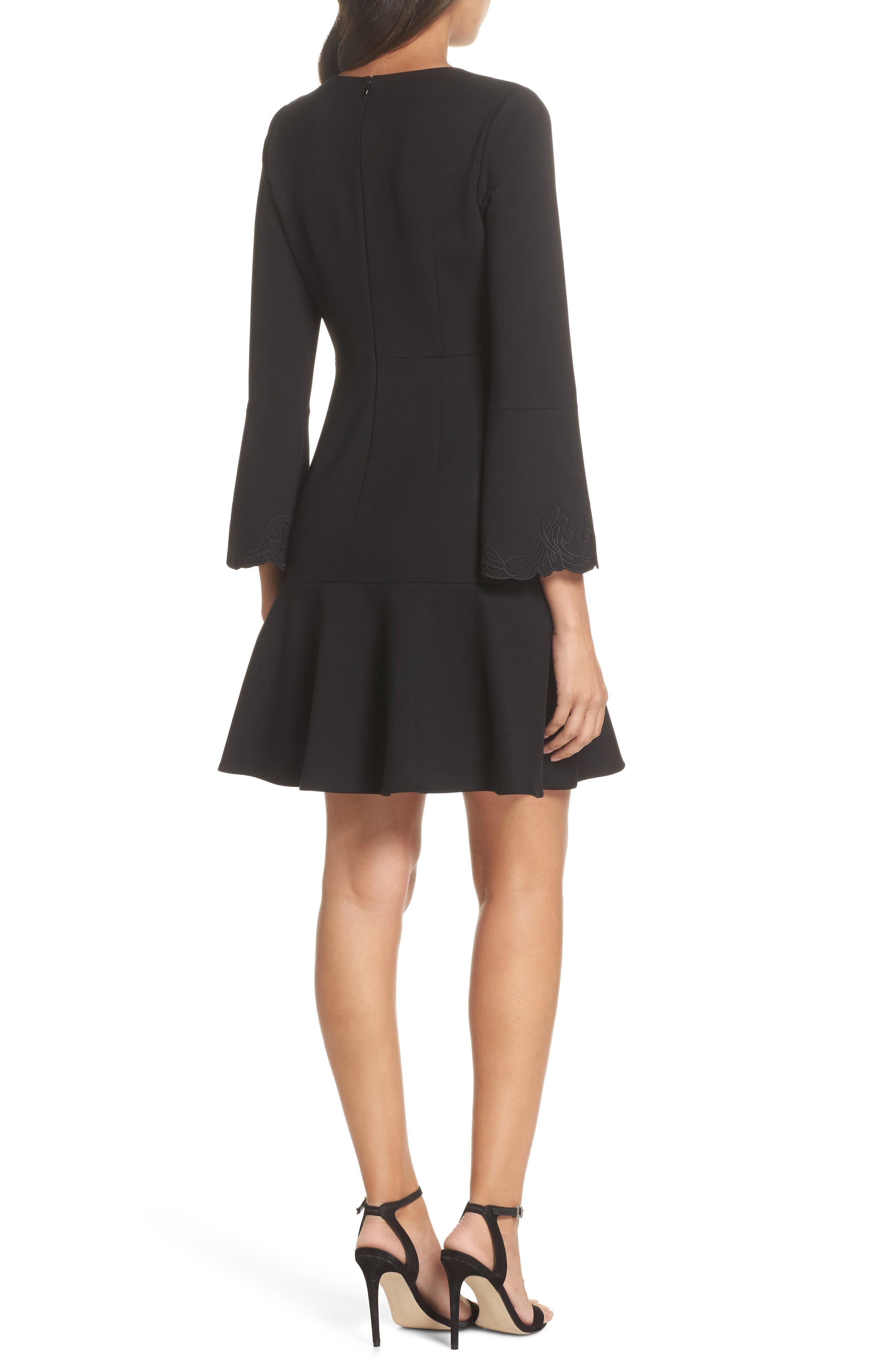 Devyn Embroidered Fit & Flare Dress,                             Alternate thumbnail 2, color,                             Black