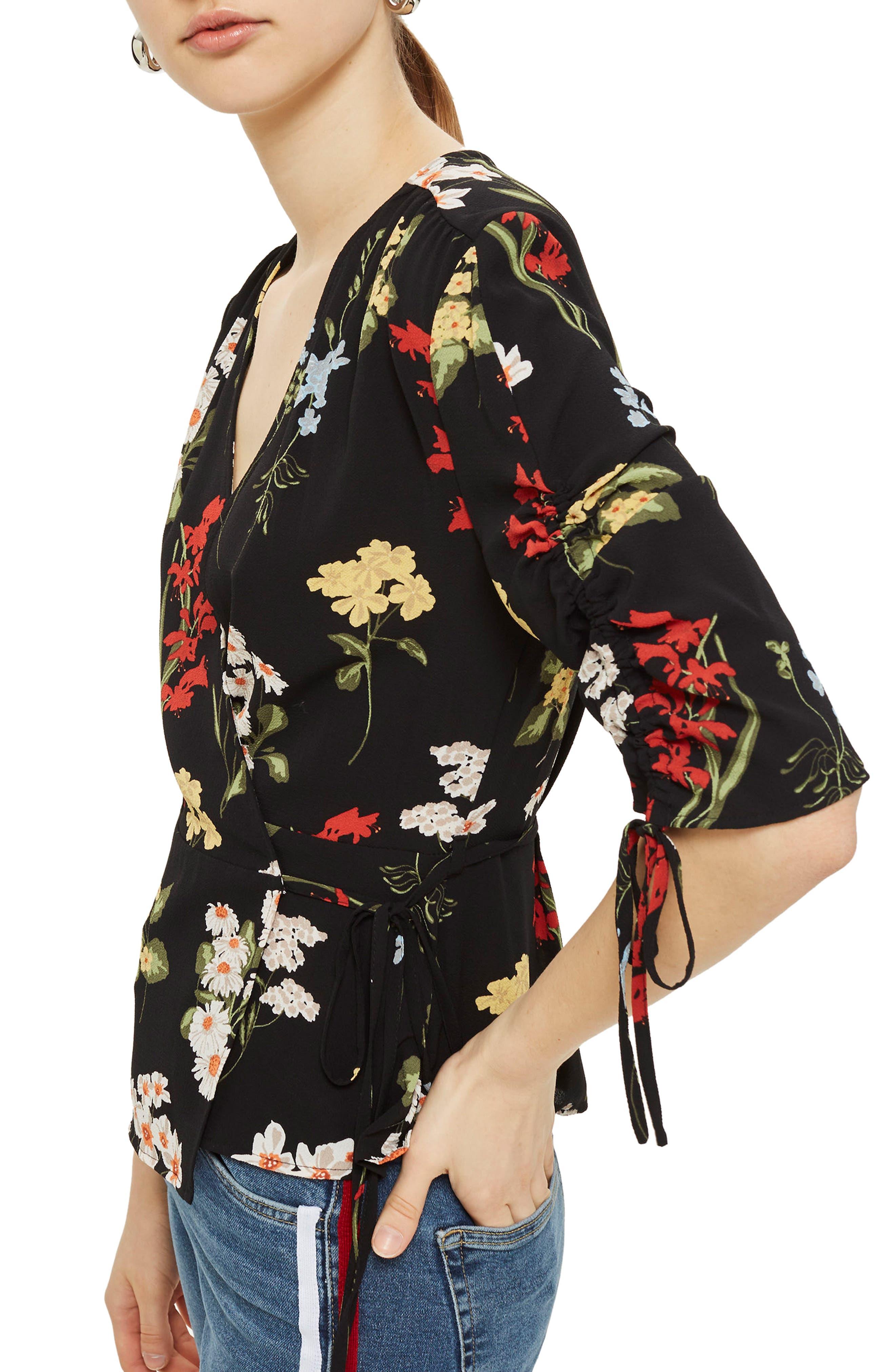 Floral Wrap Blouse,                         Main,                         color, Black Multi