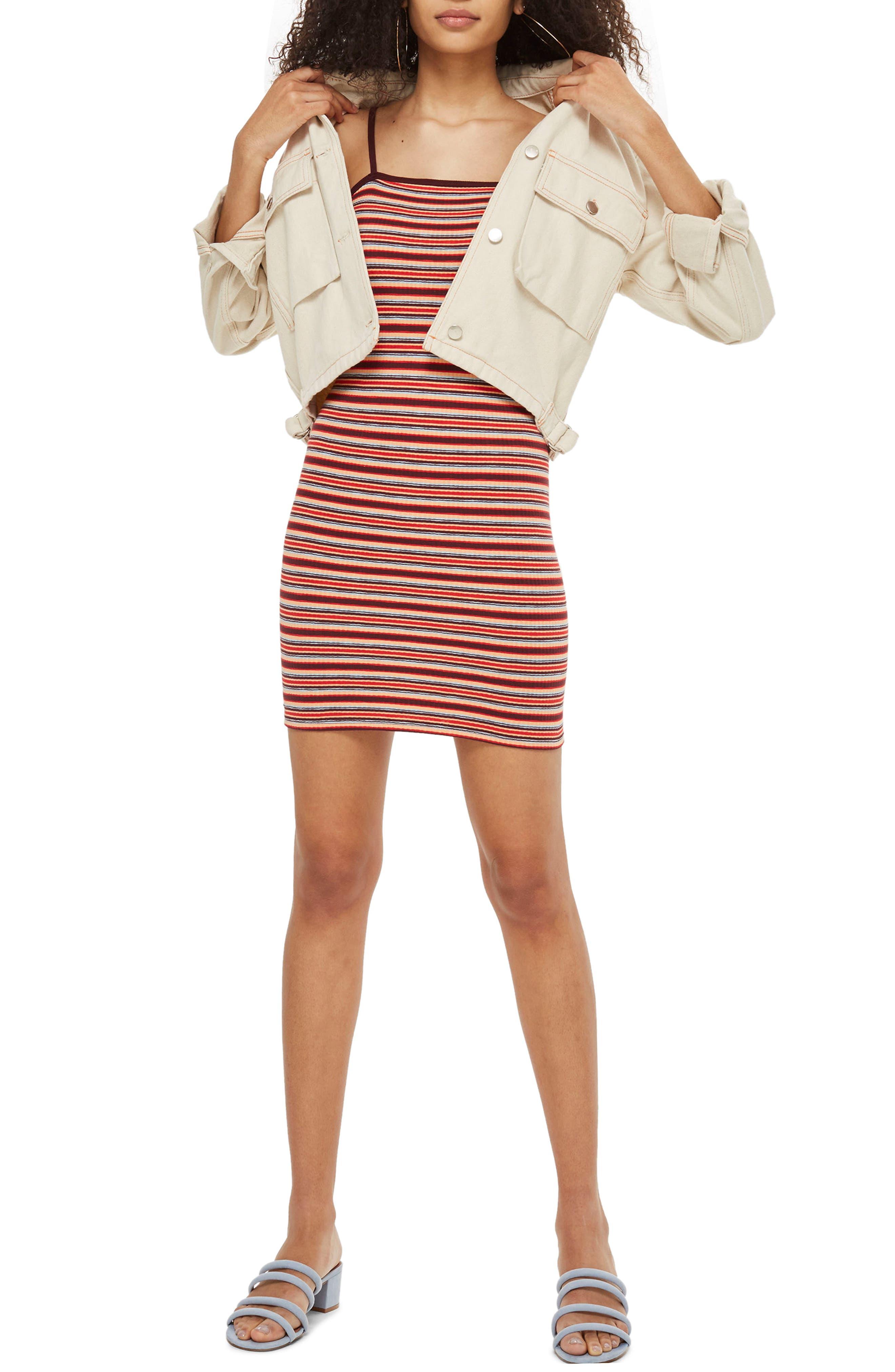 Stripe Body-Con Minidress,                             Main thumbnail 1, color,                             Red Multi