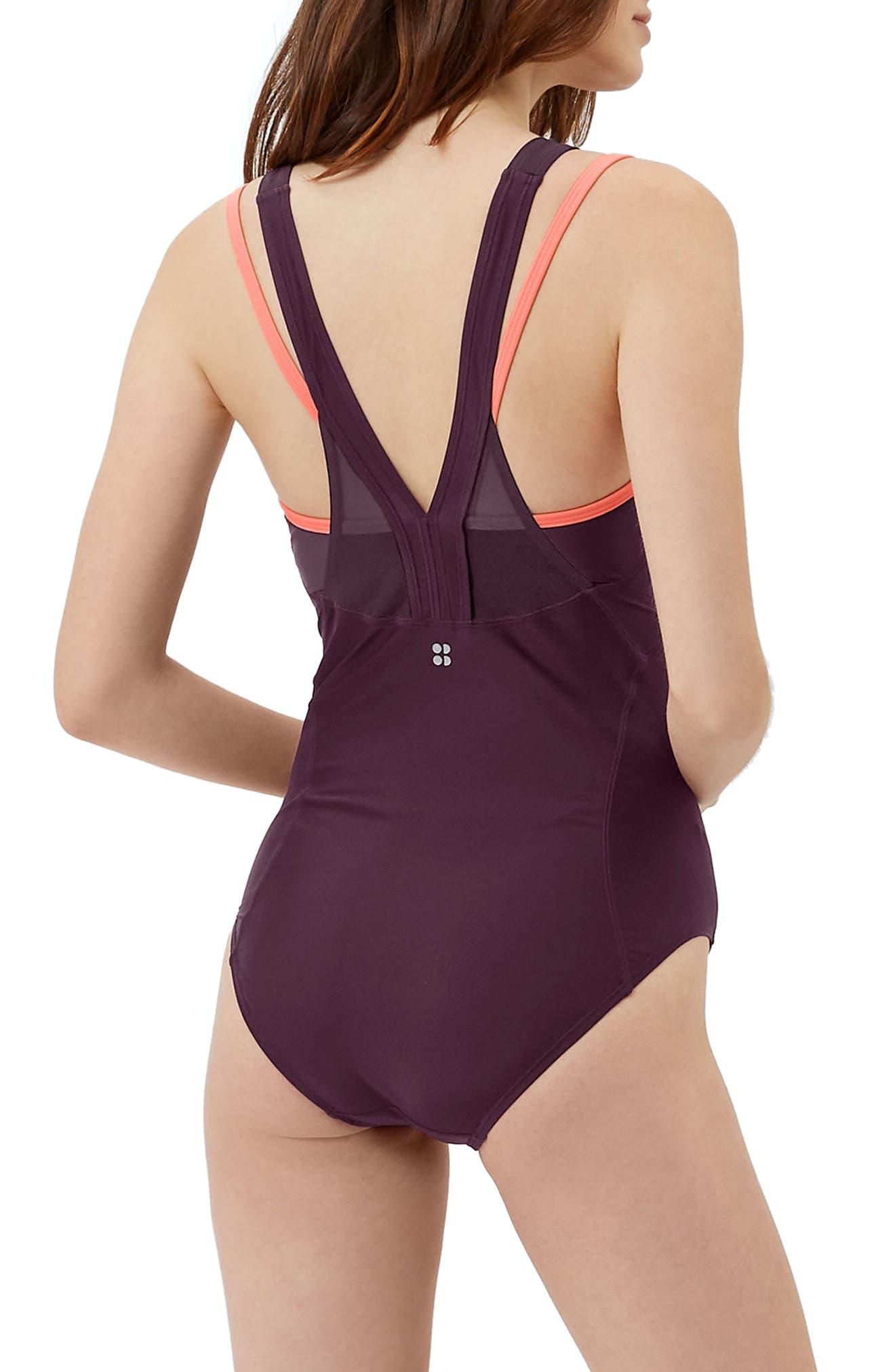 Free Dive One-Piece Swimsuit,                             Alternate thumbnail 3, color,                             Oxblood/ Denim Color Block