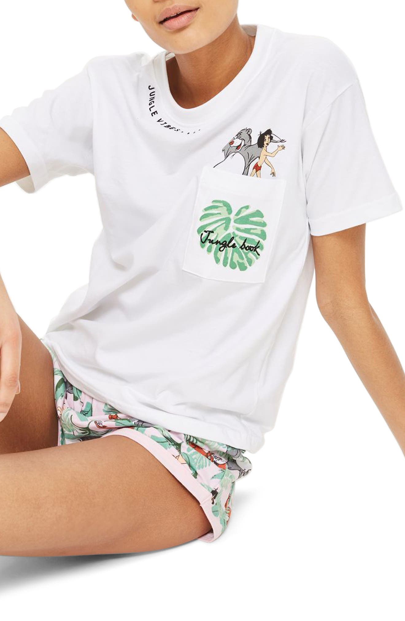 Disney<sup>®</sup> Jungle Book Short Pajamas,                             Main thumbnail 1, color,                             White Multi