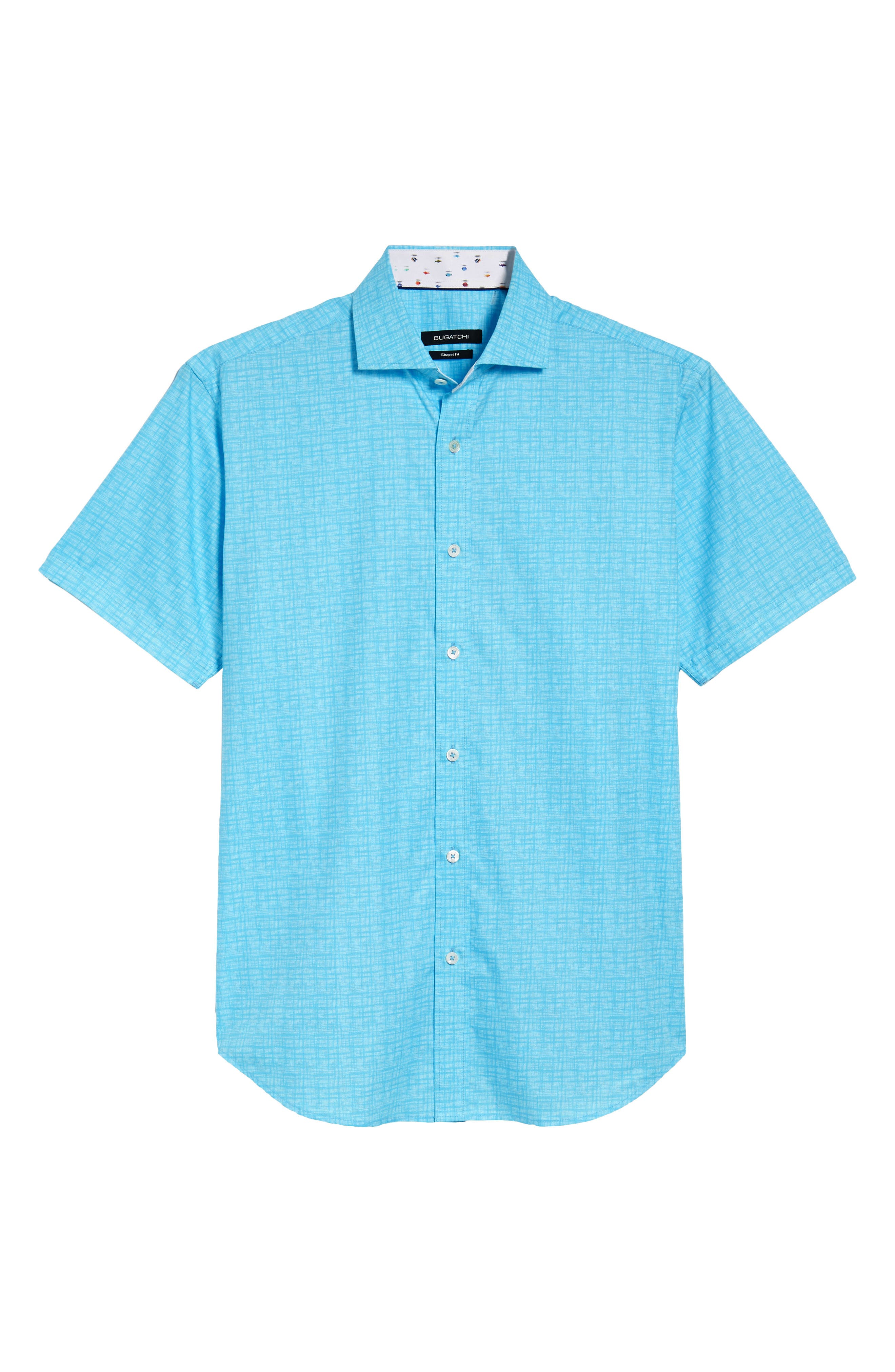 Freehand Shaped Fit Sport Shirt,                             Alternate thumbnail 6, color,                             Aqua