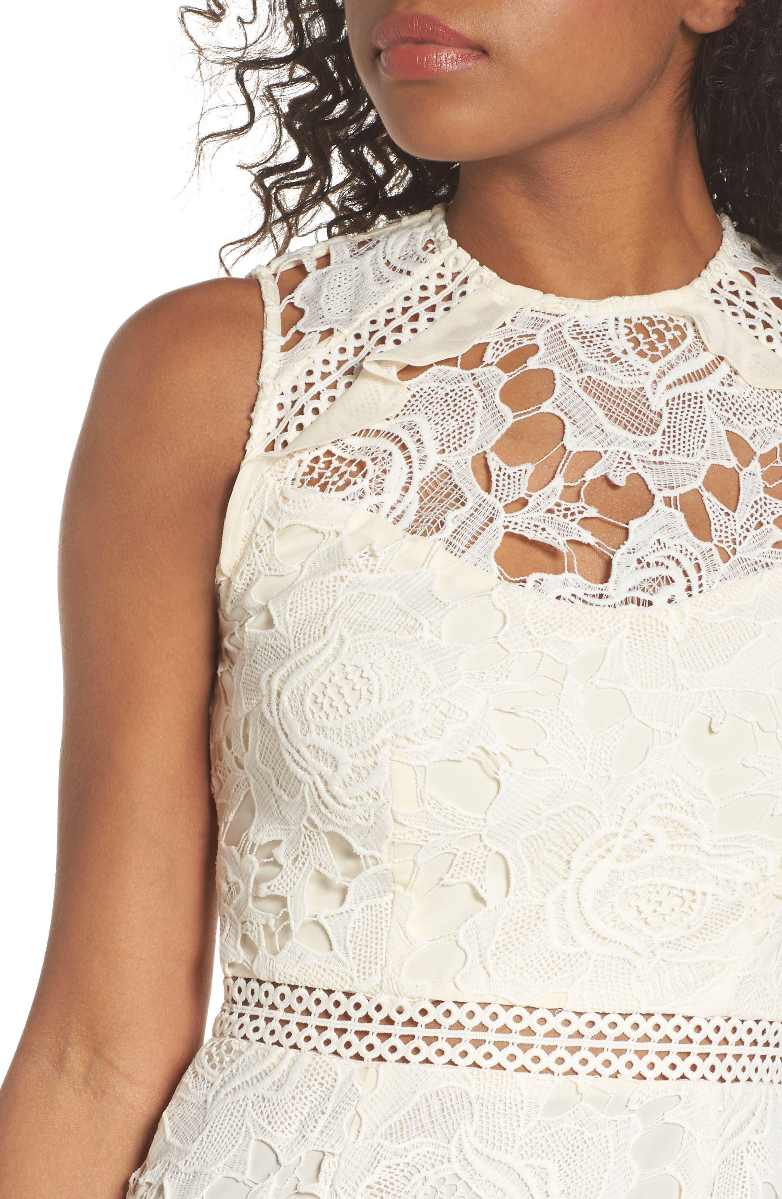 Lustrous High Neck Lace Sheath Dress,                             Alternate thumbnail 4, color,                             Coconut Milk