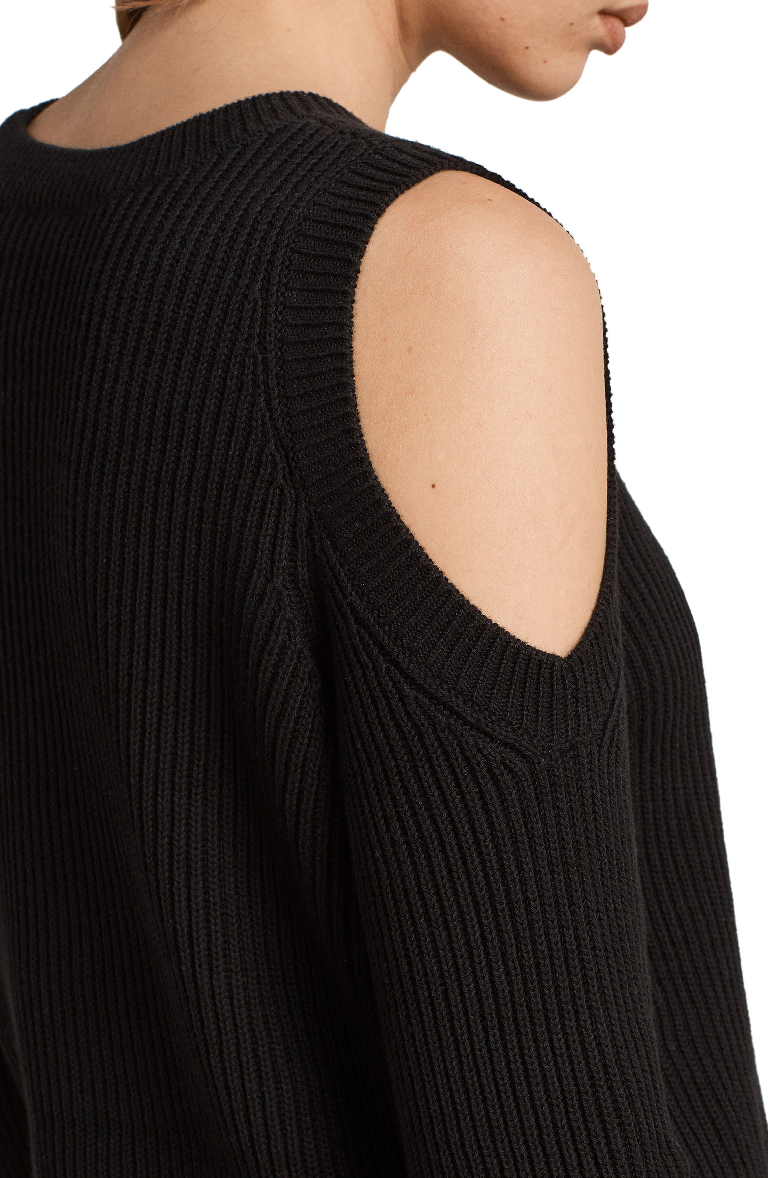 Pepper Cold Shoulder Sweater,                             Alternate thumbnail 4, color,                             Black