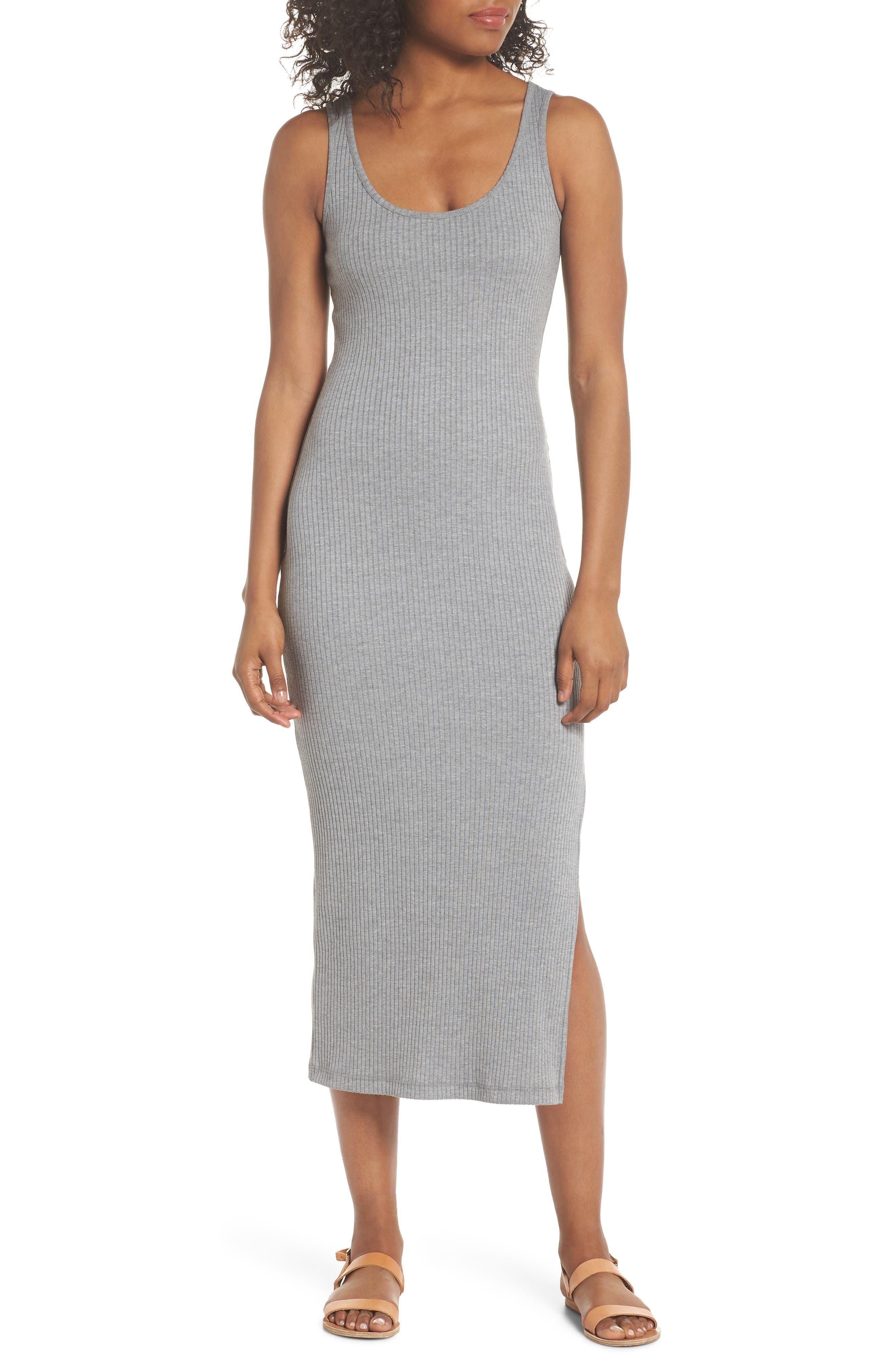 Tommy Rib Knit Tank Dress,                             Main thumbnail 1, color,                             Mid Grey Mel