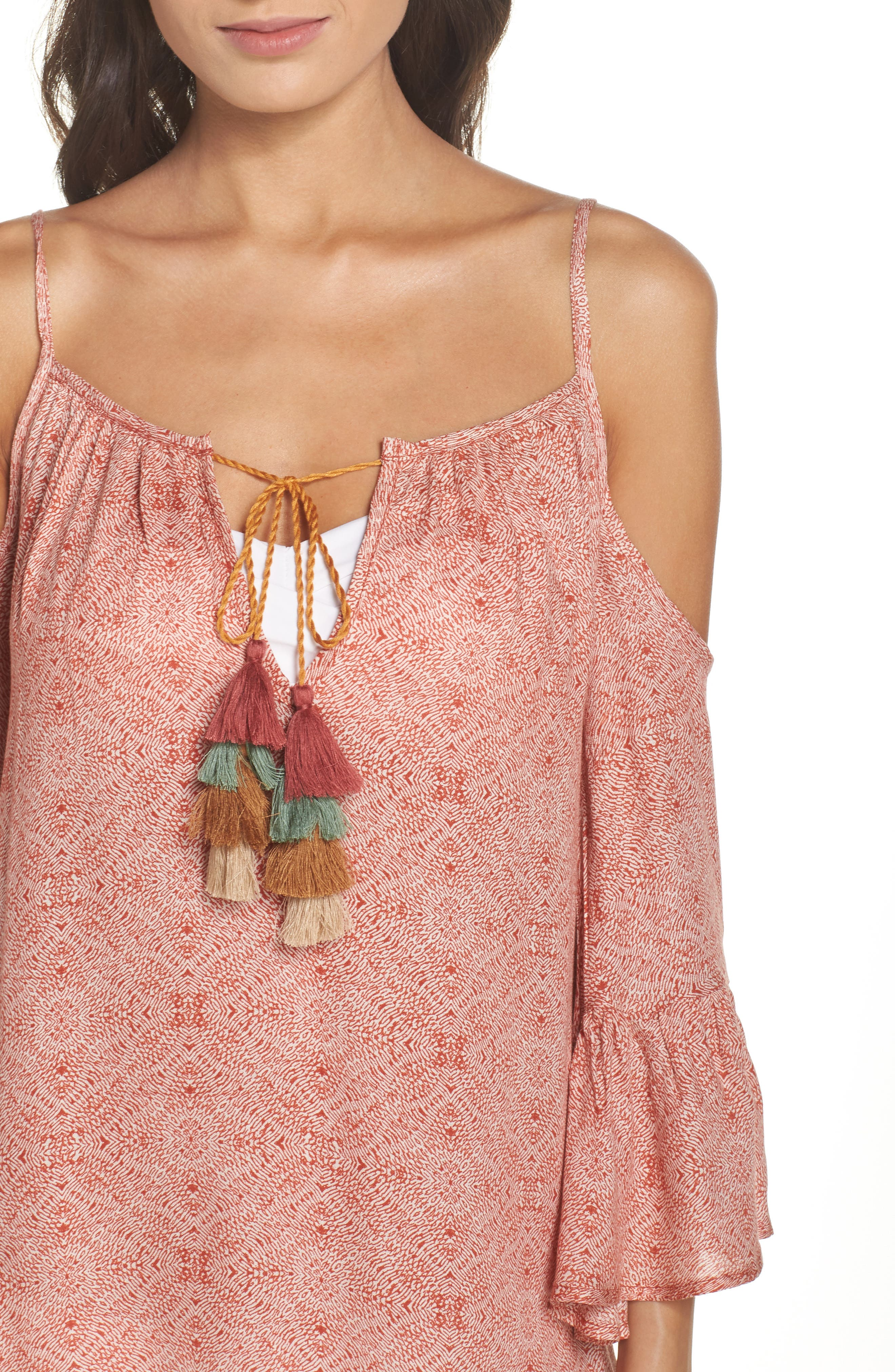 Tassel Cold Shoulder Cover-Up Tunic,                             Alternate thumbnail 4, color,                             Rust