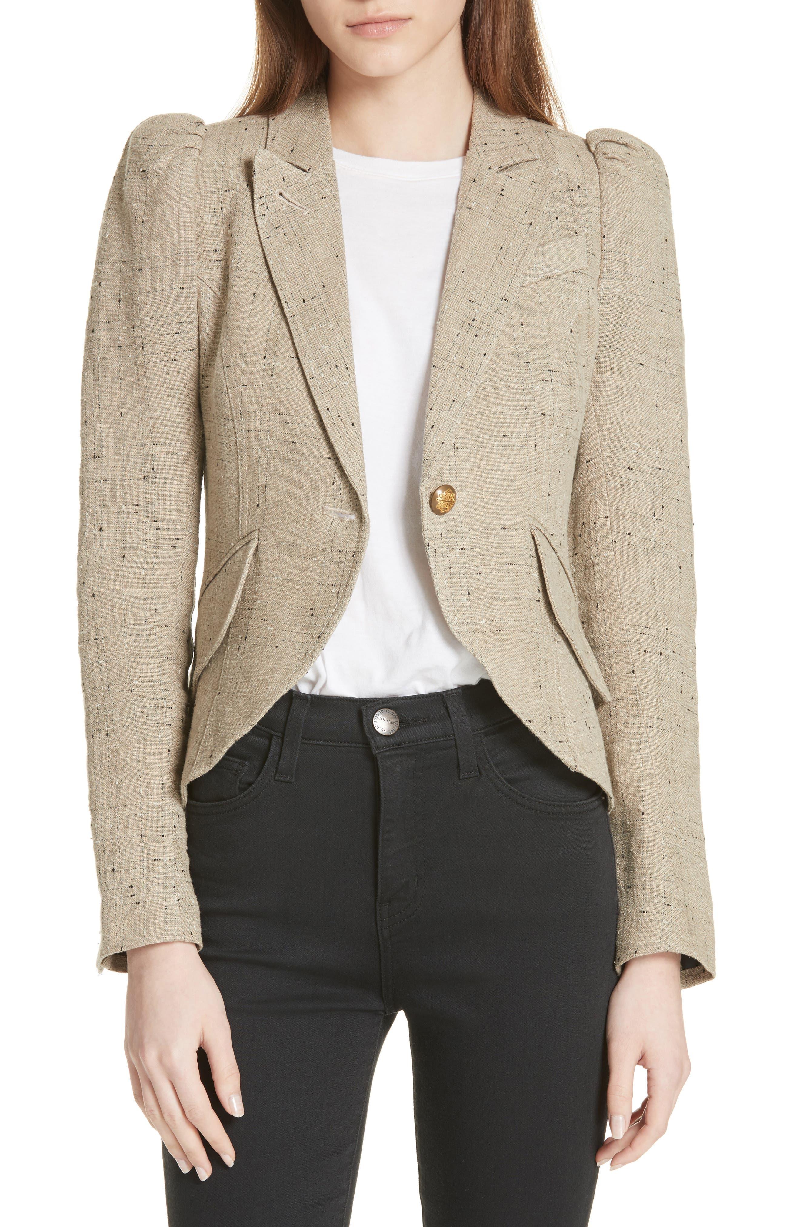 Leather Elbow Patch Linen Blend Blazer,                             Main thumbnail 1, color,                             Stone W/ Black Leather