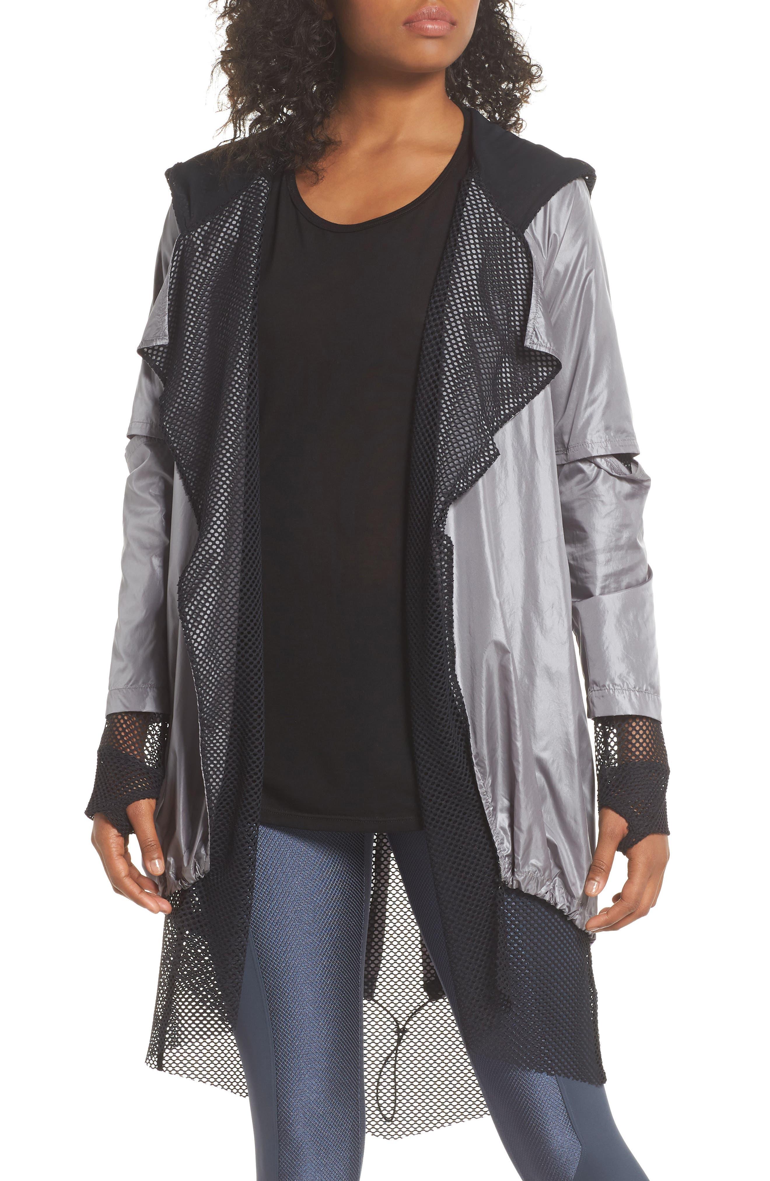 Billboard Throw-On Jacket,                         Main,                         color, Chromium/ Black