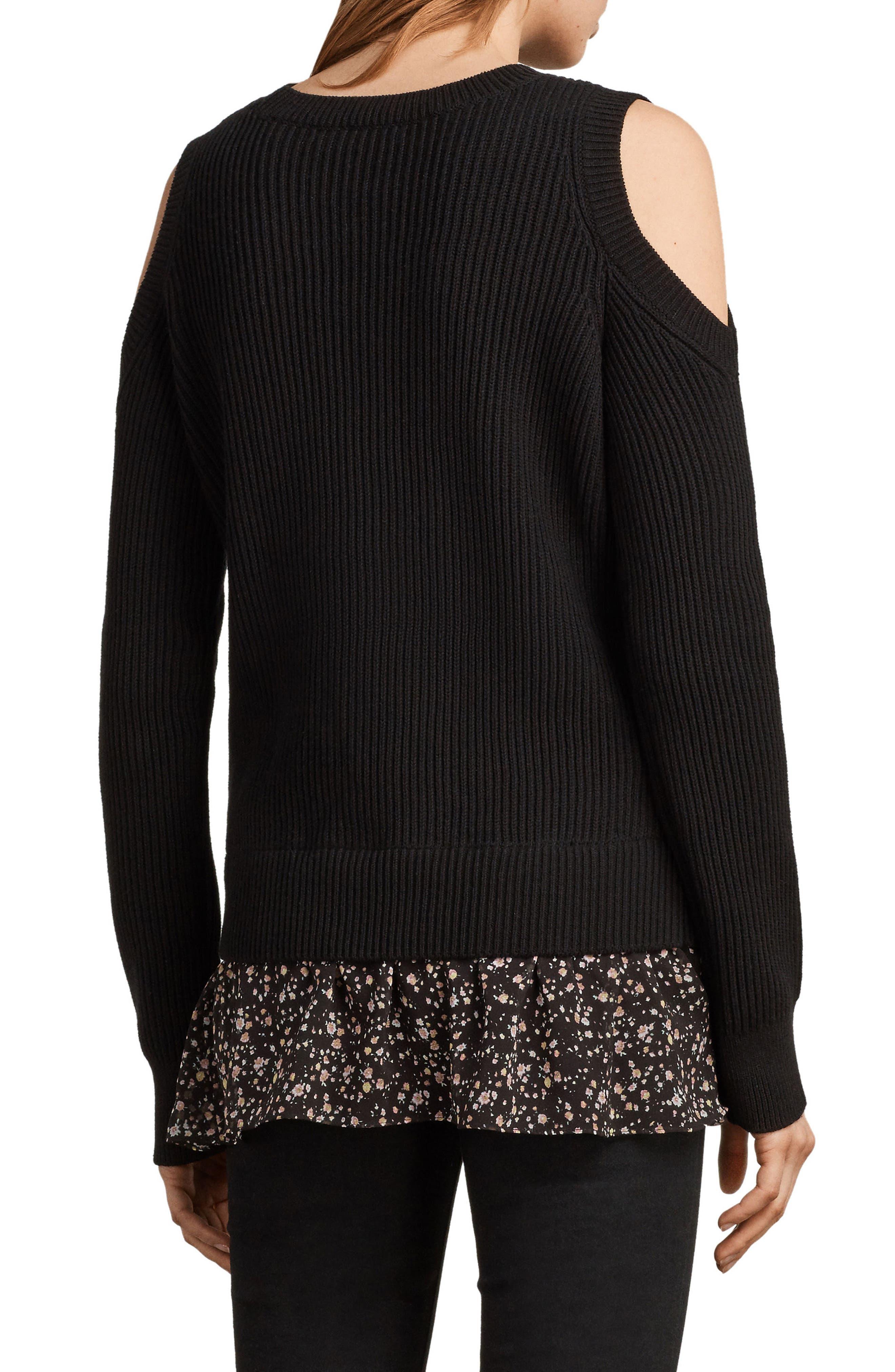 Pepper Cold Shoulder Sweater,                             Alternate thumbnail 2, color,                             Black