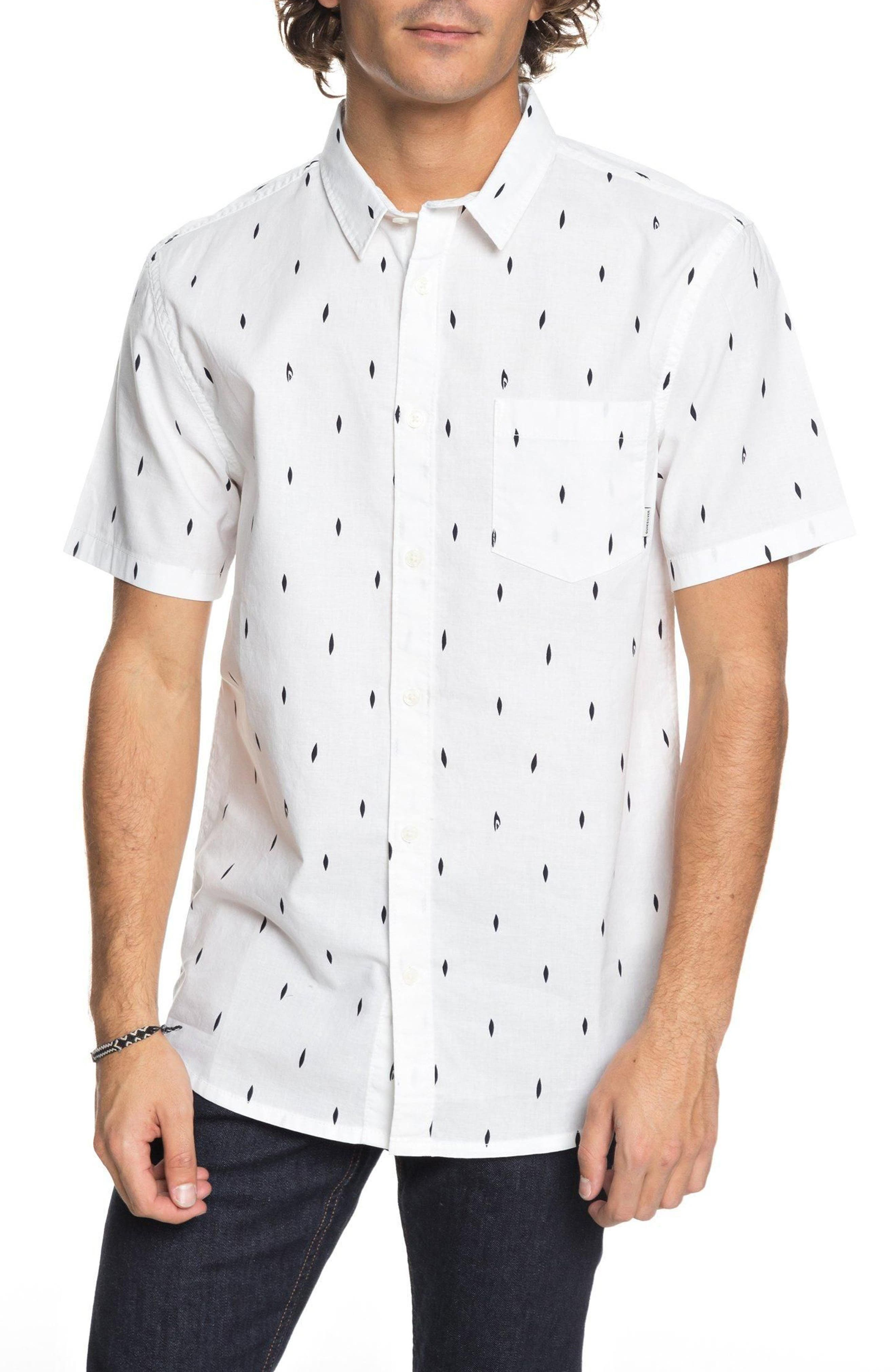 Abstract Boards Woven Shirt,                             Main thumbnail 1, color,                             Snow White