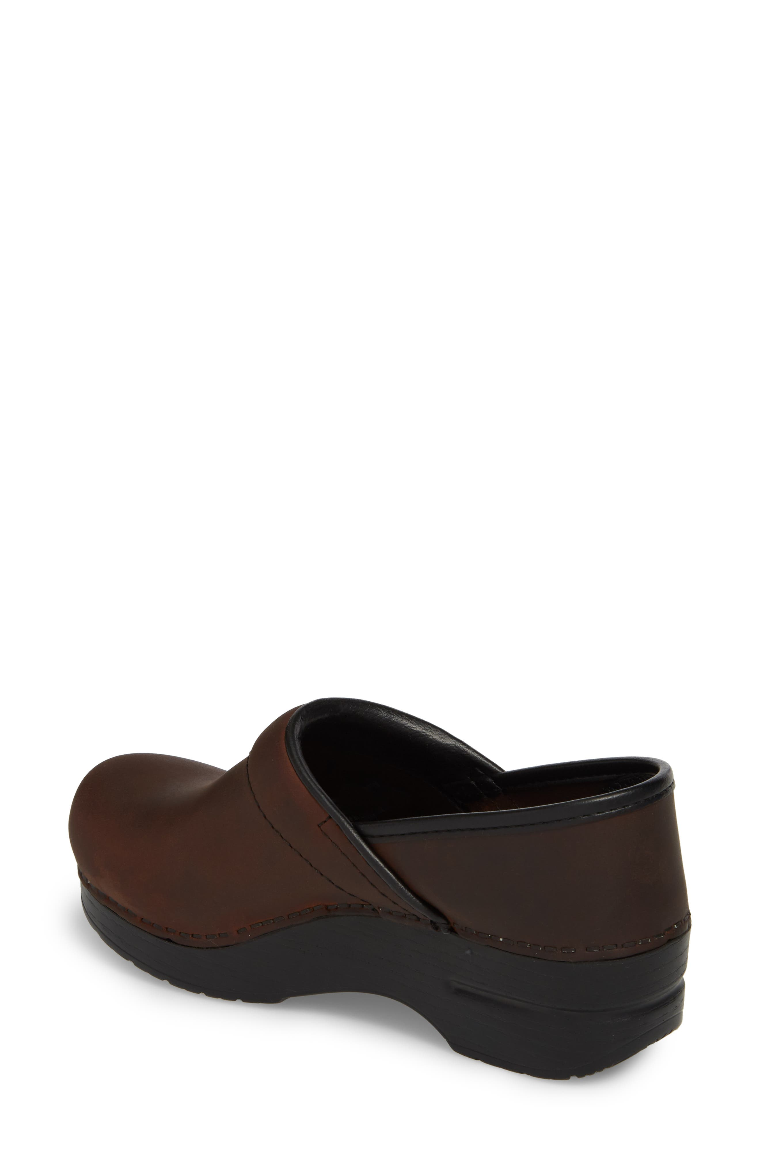 Wide Pro Clog,                             Alternate thumbnail 2, color,                             Antique Brown/ Black Leather