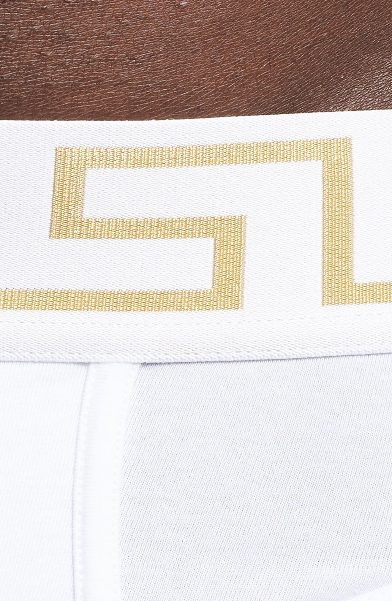Versace Collection 2-Pack Low Rise Briefs,                             Alternate thumbnail 5, color,                             White/ Greek/ Gold