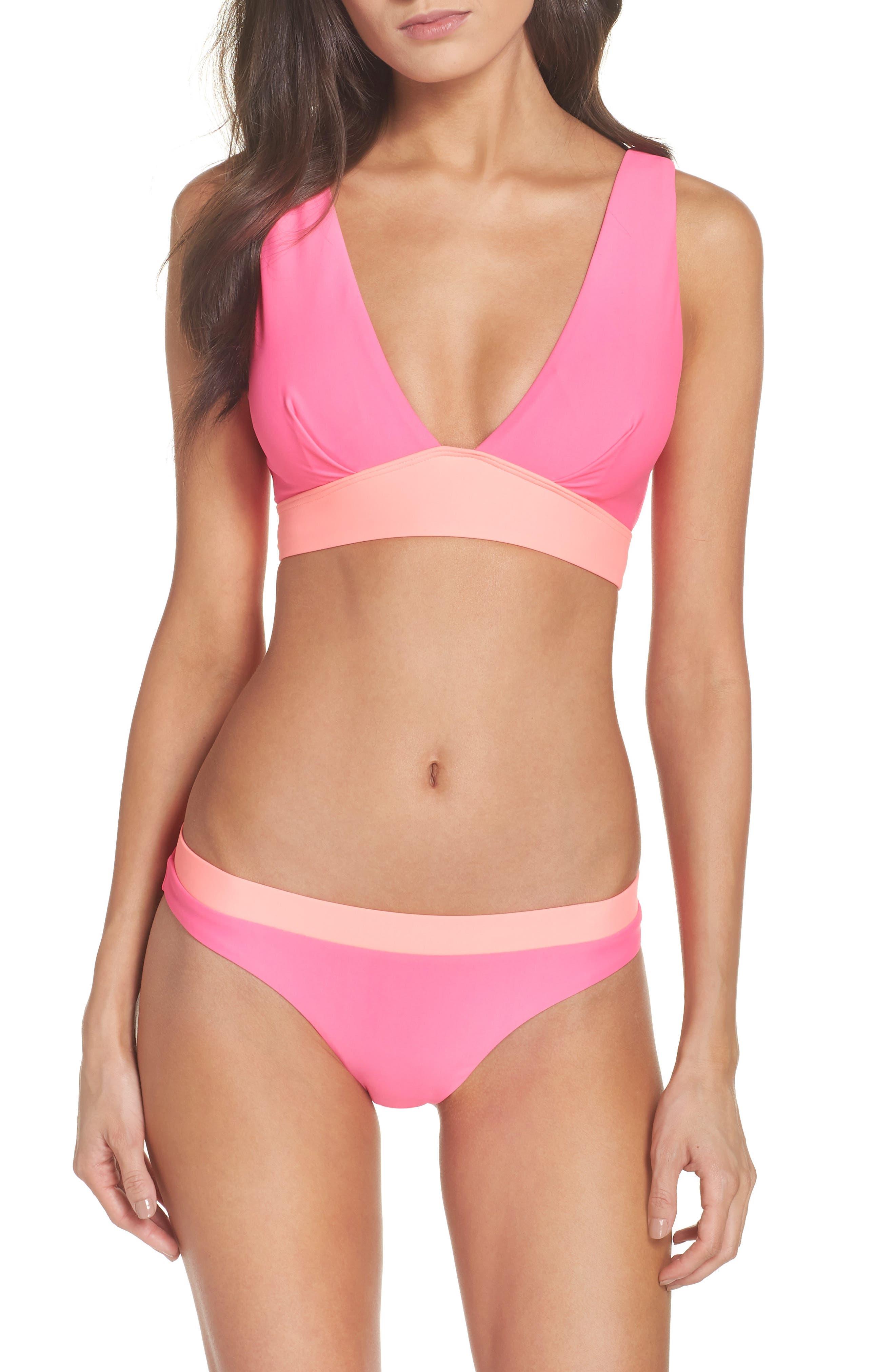 Contrast Bikini Top,                             Alternate thumbnail 5, color,                             Neon Pink