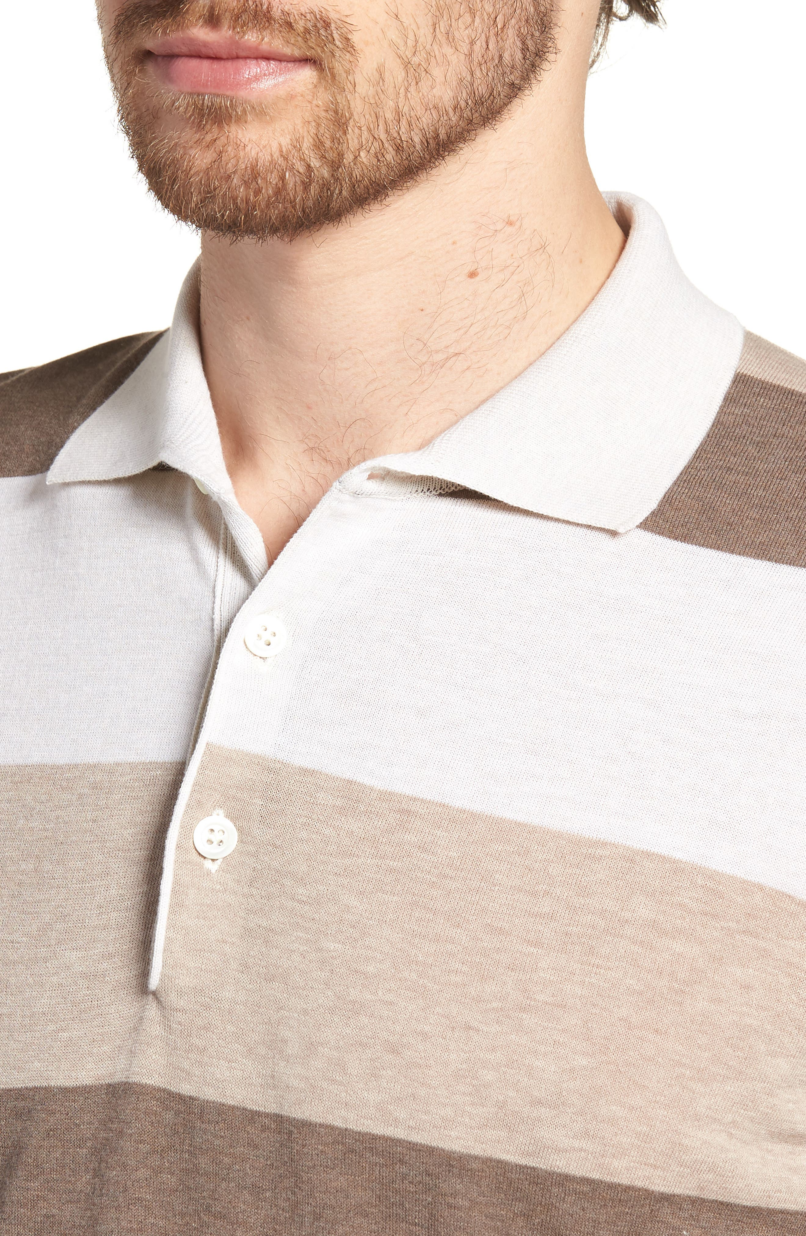 Stripe Polo Shirt,                             Alternate thumbnail 4, color,                             Brown