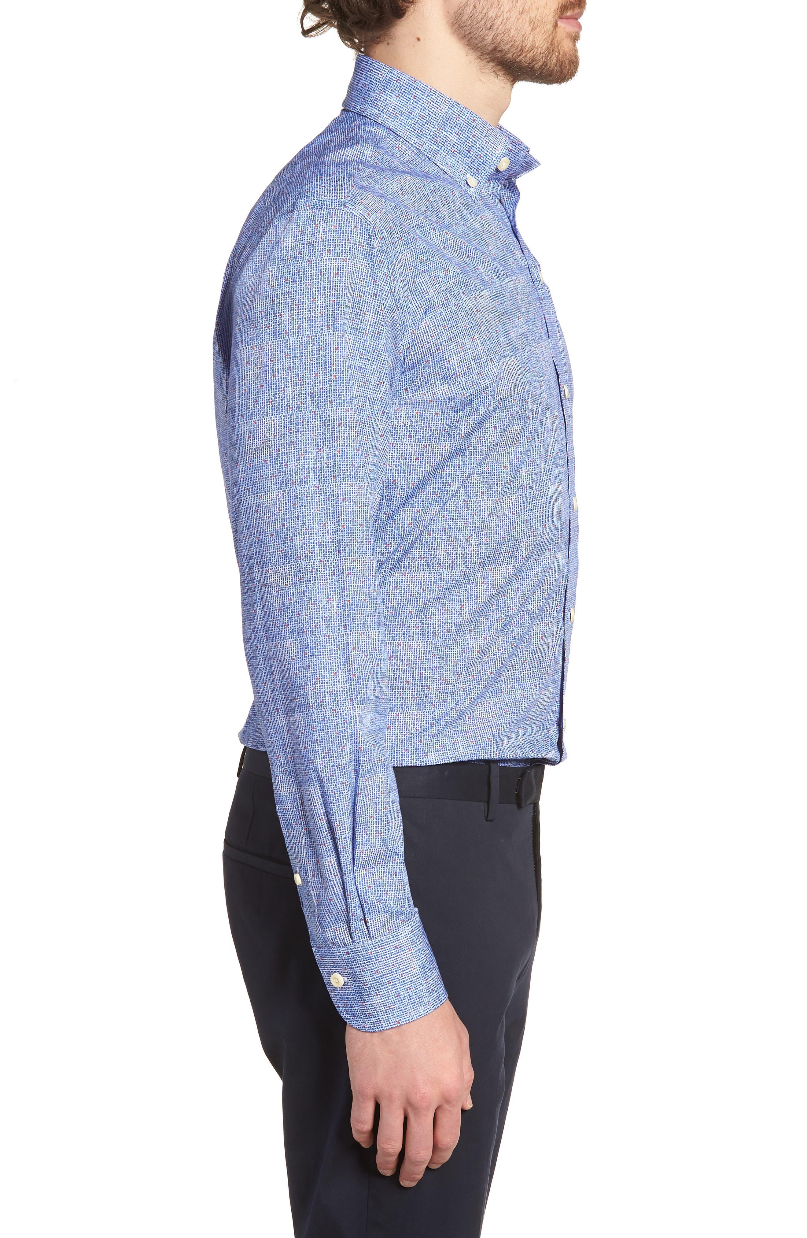 Normand Slim Fit Check Dress Shirt,                             Alternate thumbnail 4, color,                             Blue