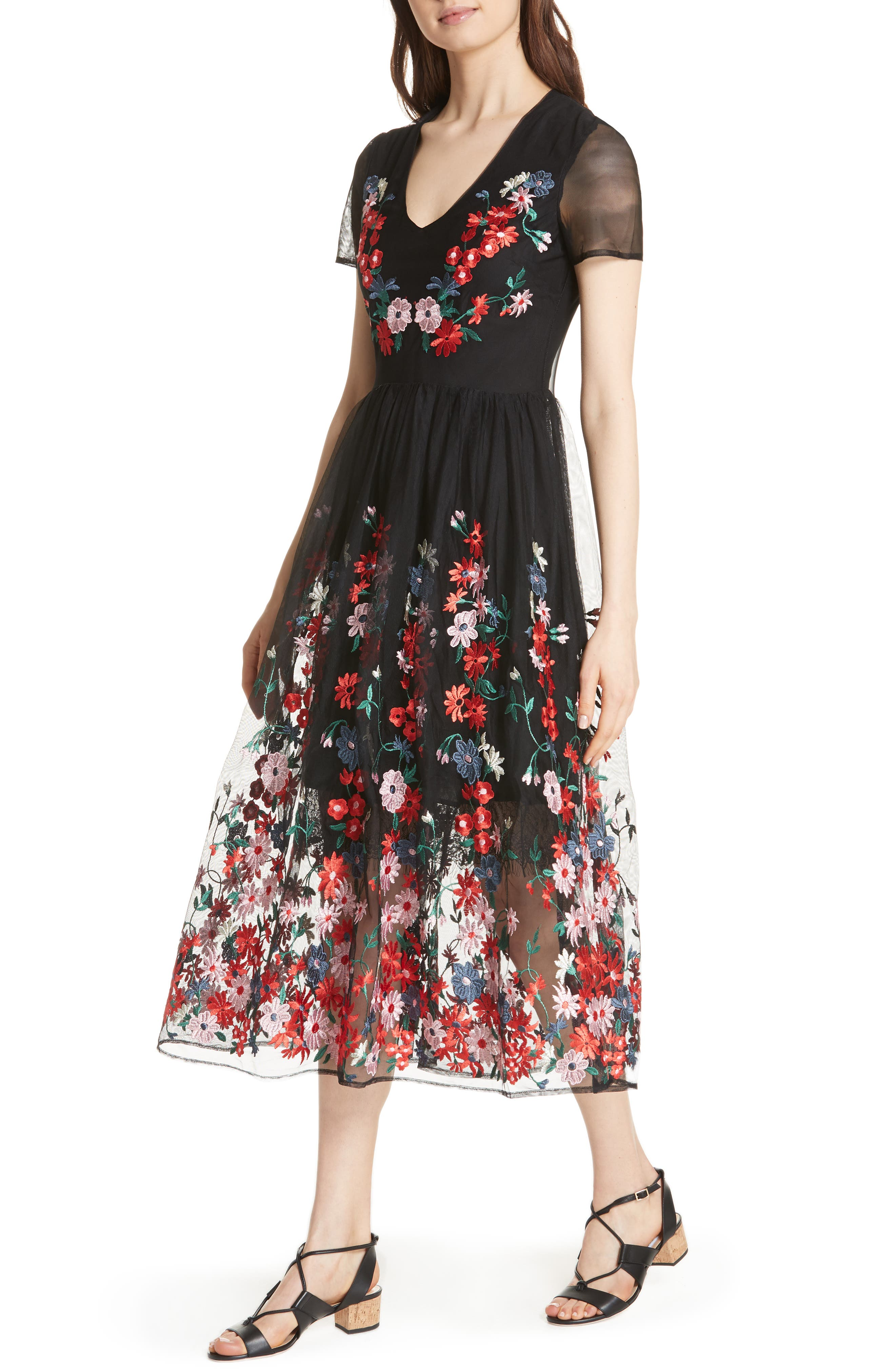 Raphael Embroidered Midi Dress,                             Alternate thumbnail 4, color,                             Black 210