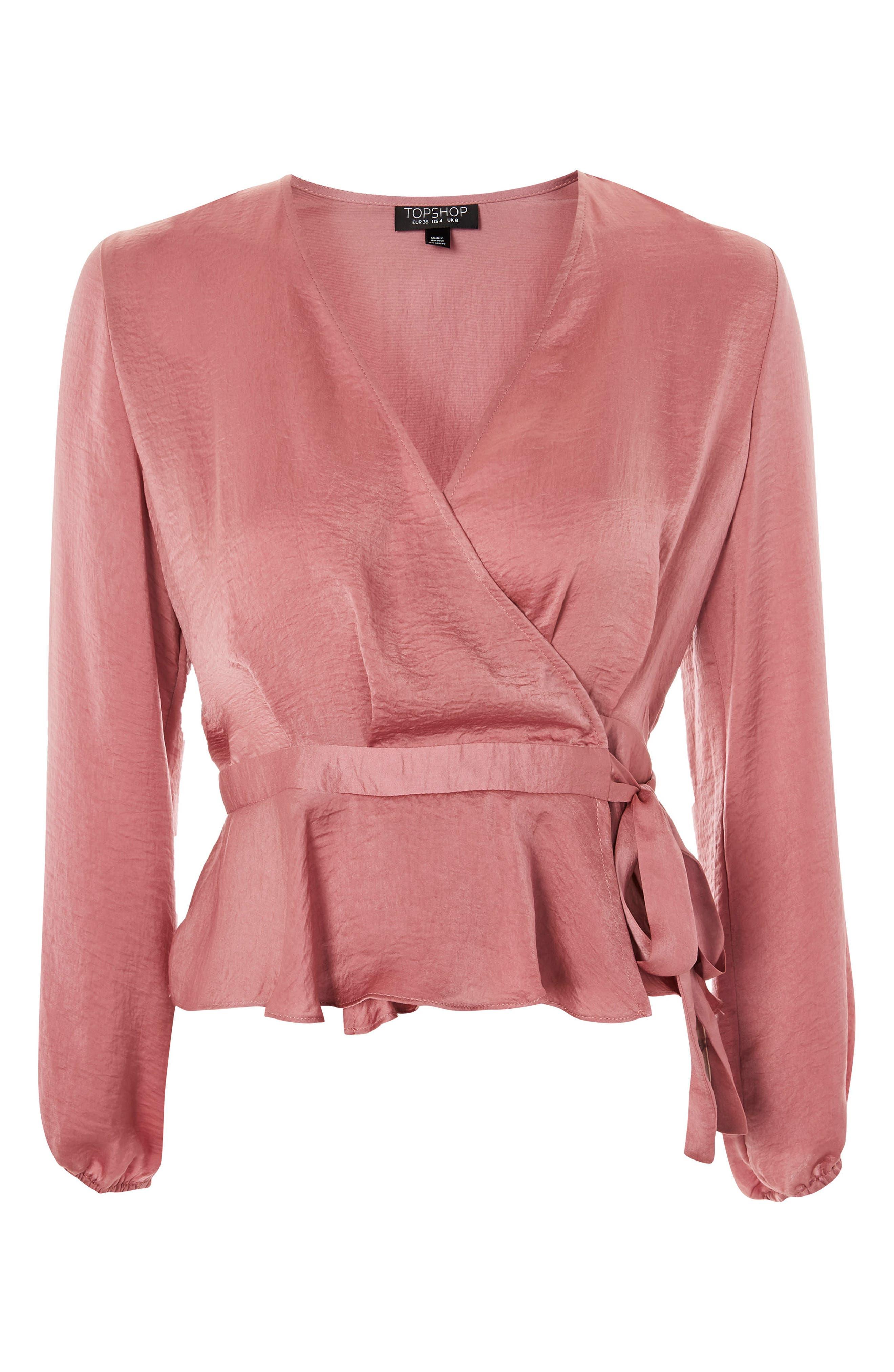 Satin Blouson Sleeve Wrap Blouse,                         Main,                         color, Blush