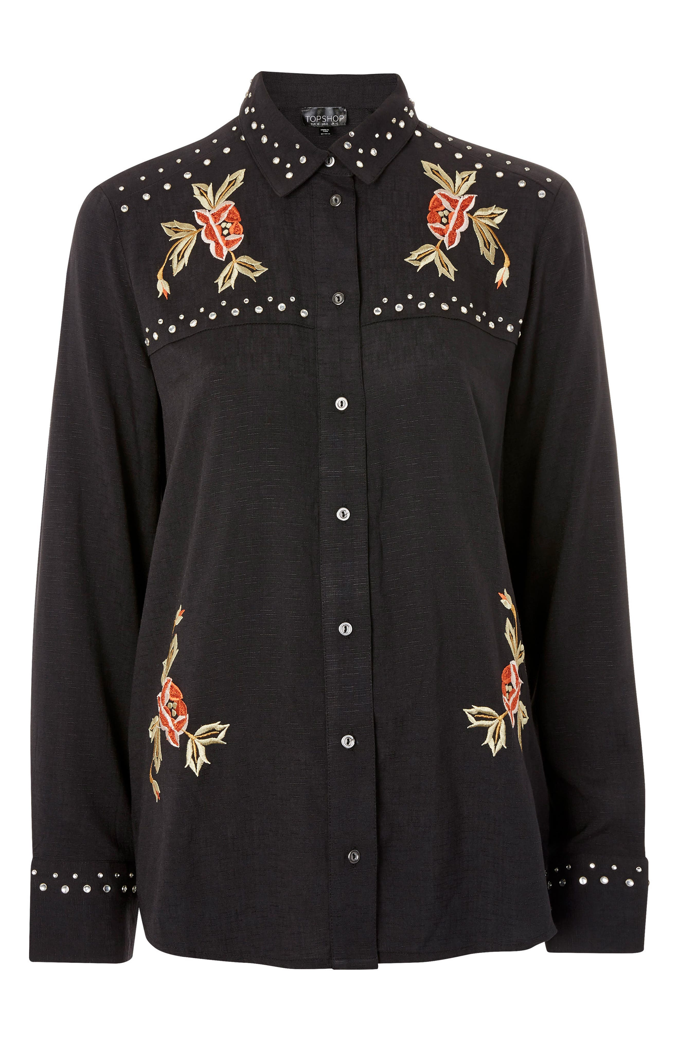 Rodeo Stud Embroidered Shirt,                             Alternate thumbnail 4, color,                             Black Multi
