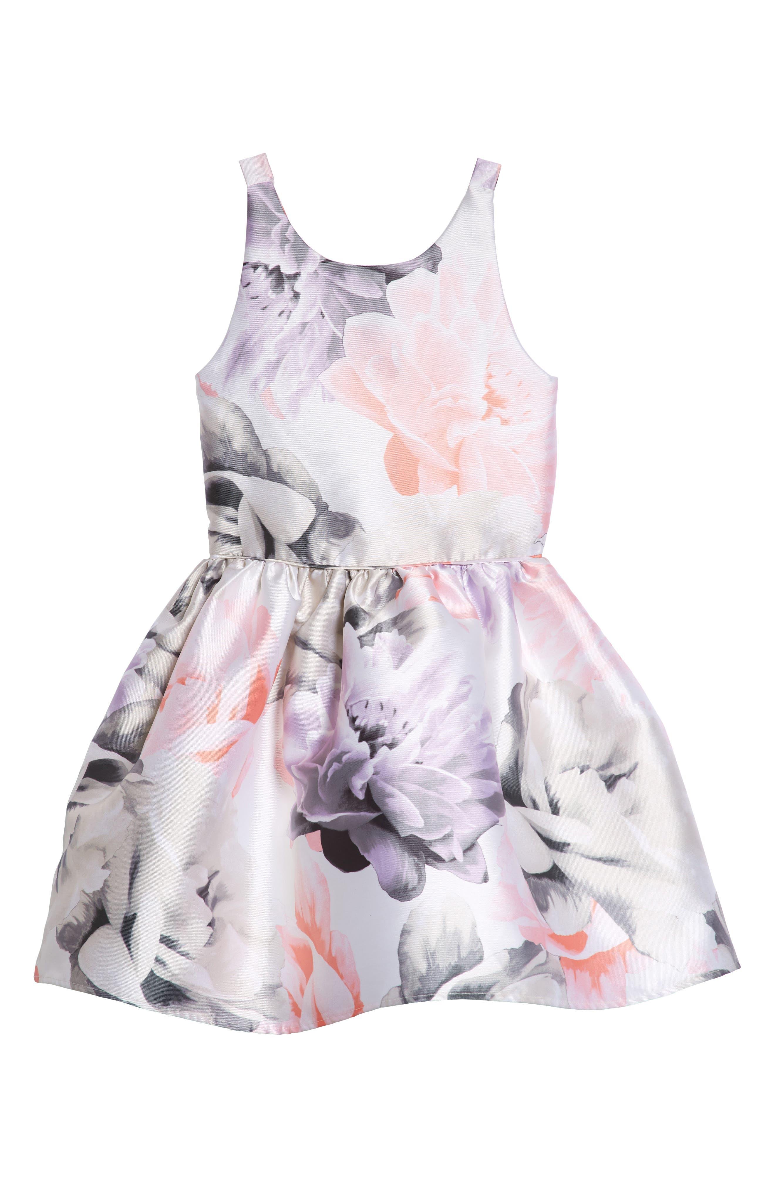 Floral Print Party Dress,                             Main thumbnail 1, color,                             Ivory