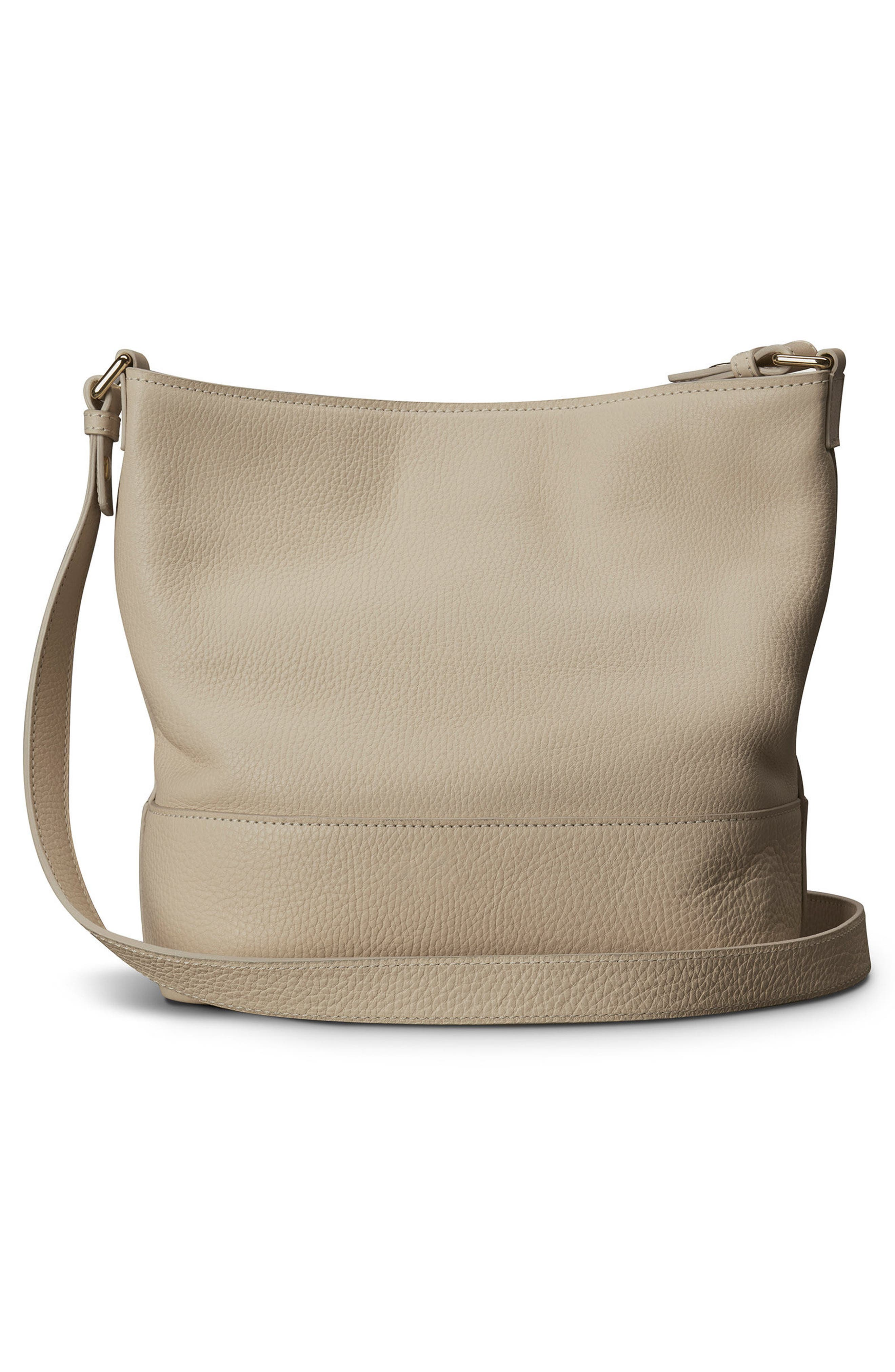 Small Relaxed Leather Hobo Bag,                             Alternate thumbnail 2, color,                             Stone