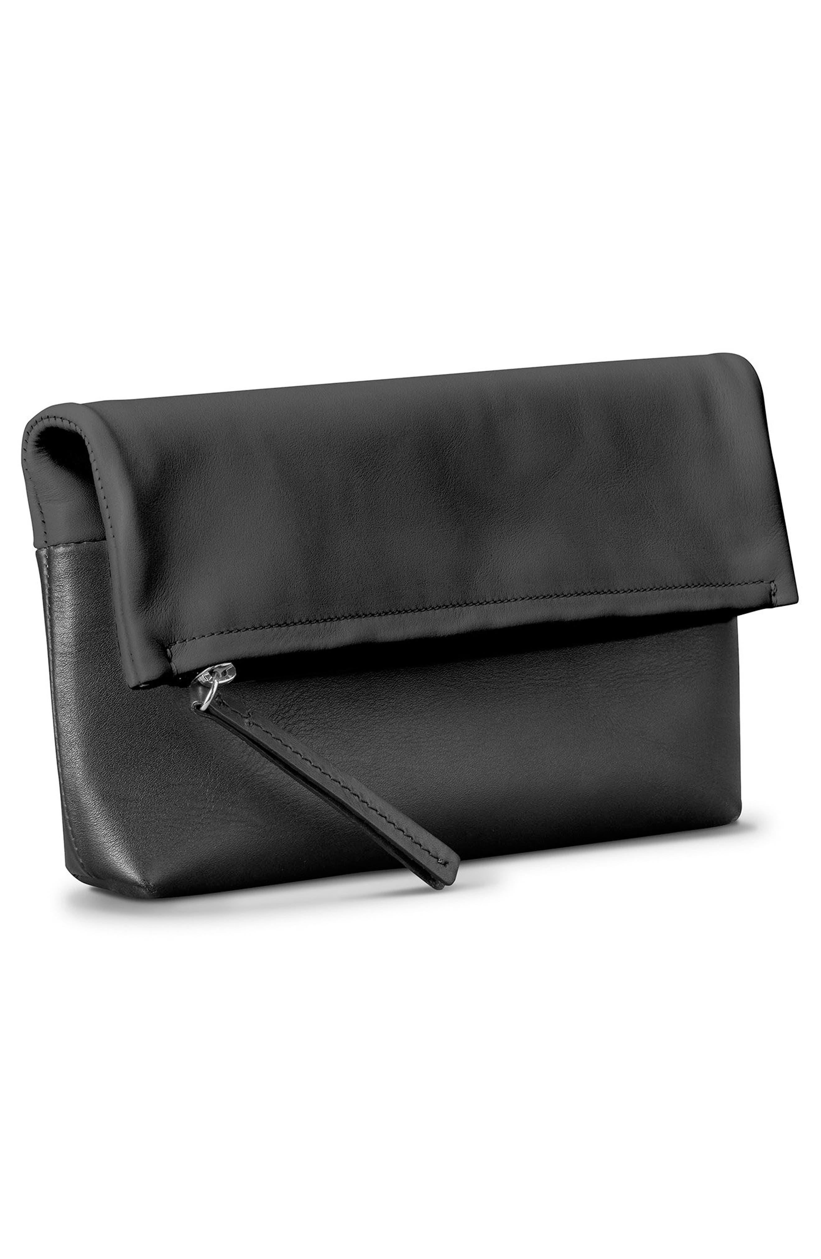 Birdy Leather Foldover Clutch,                             Alternate thumbnail 4, color,                             Black
