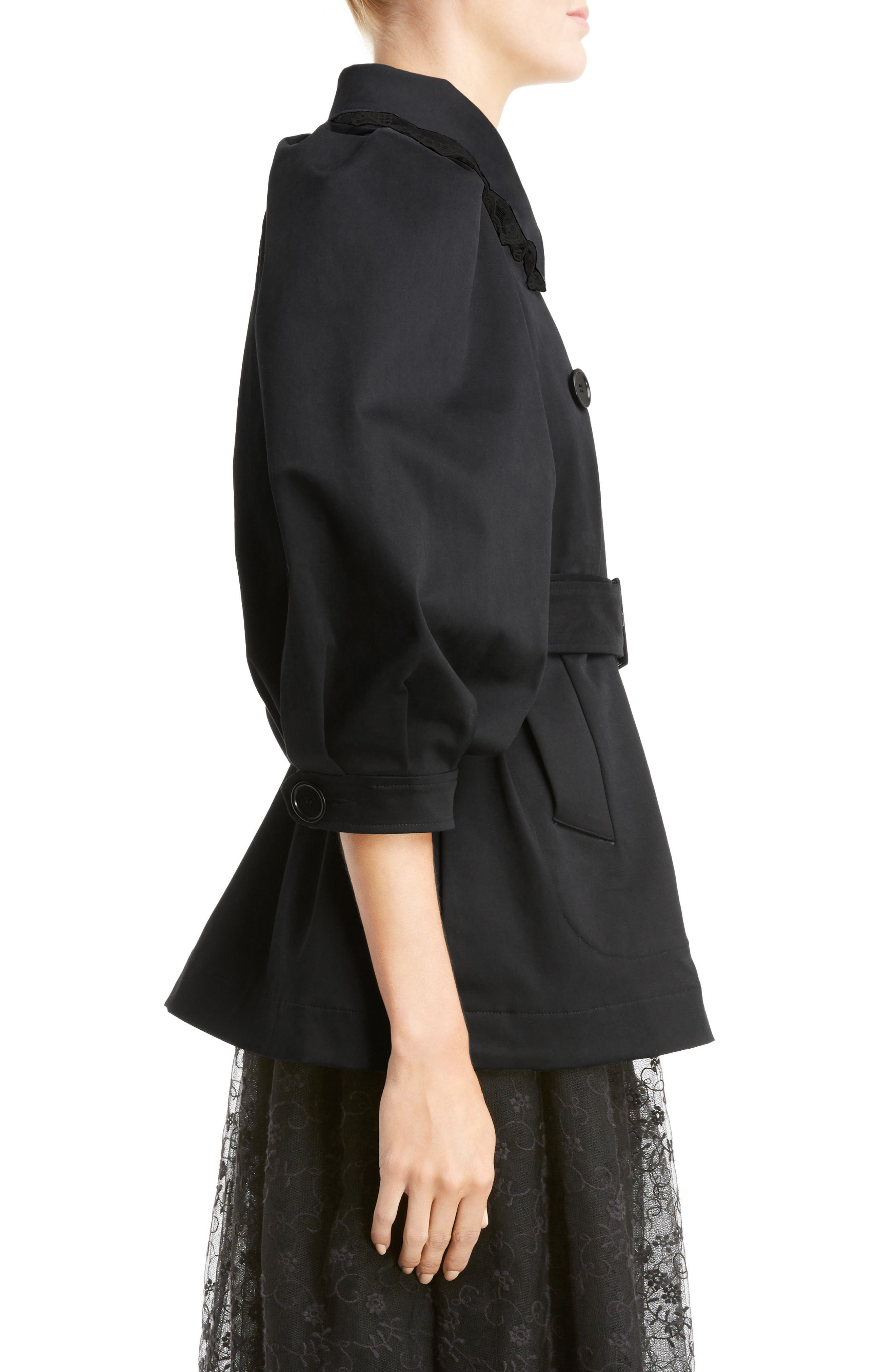 Lace Trim Pea Jacket,                             Alternate thumbnail 3, color,                             Black Black
