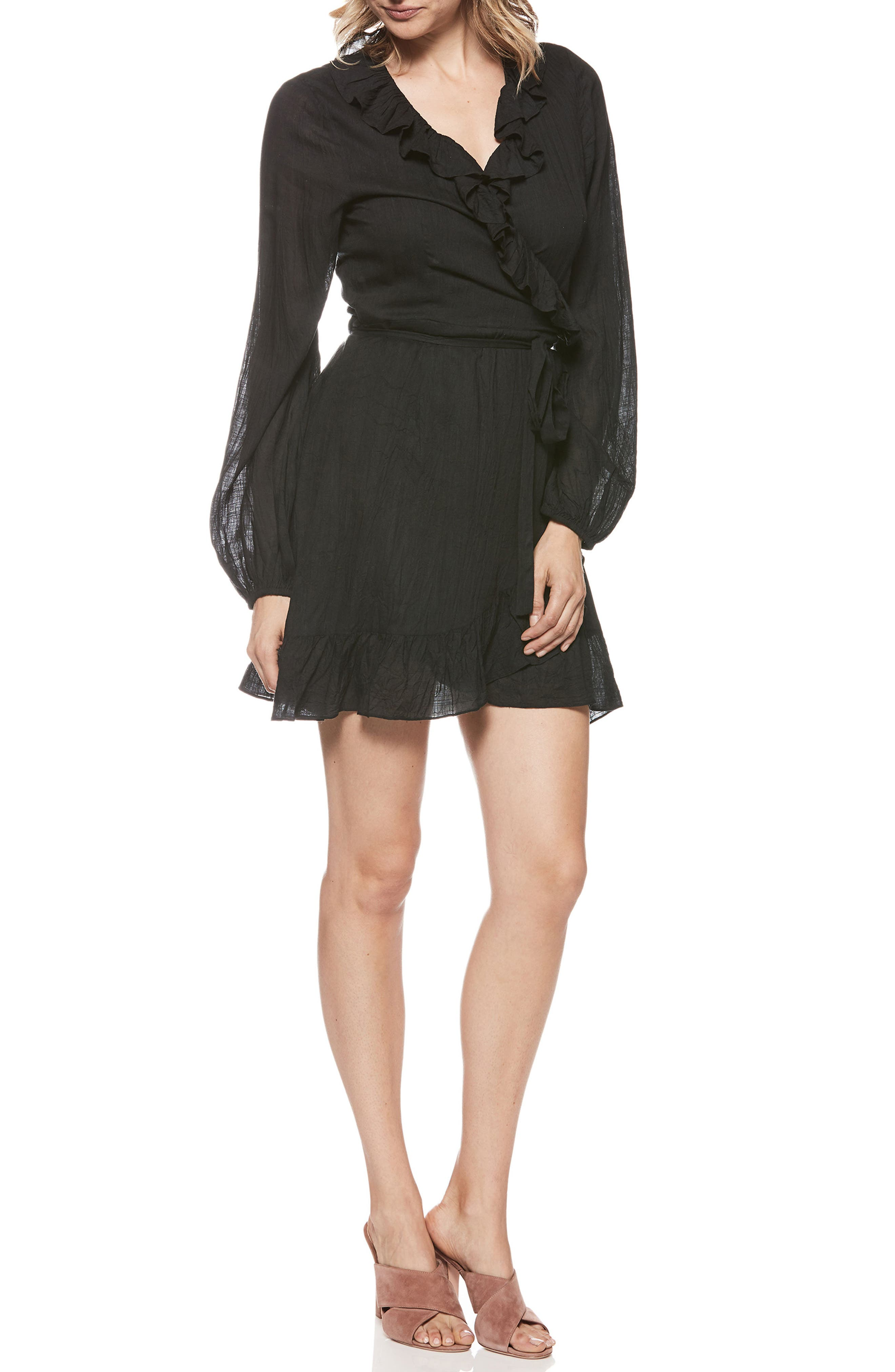 Shawna Ruffle Wrap Dress,                         Main,                         color, Black