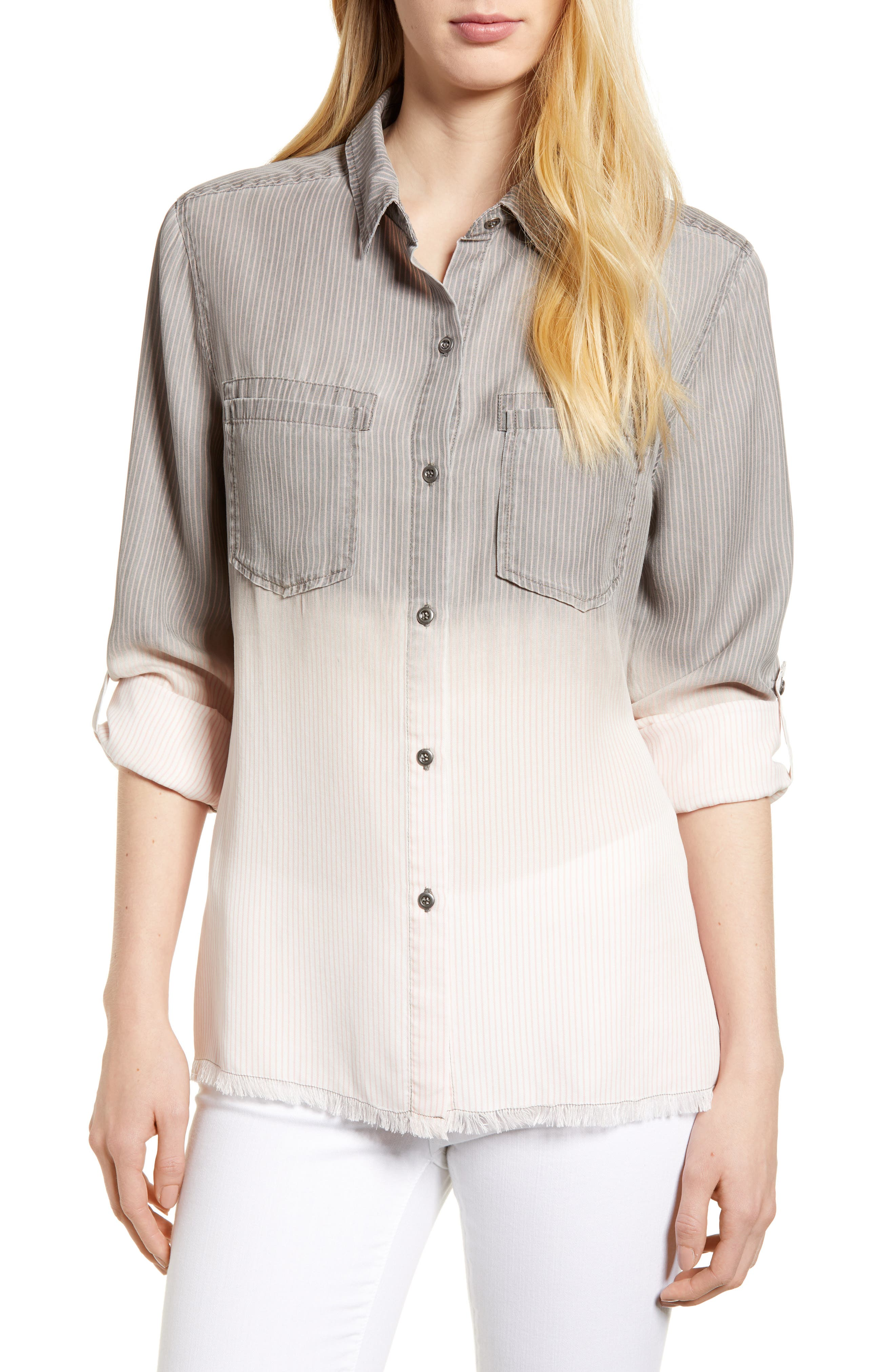 Laced Back Button Up Shirt,                             Main thumbnail 1, color,                             Grey Rr Stripe
