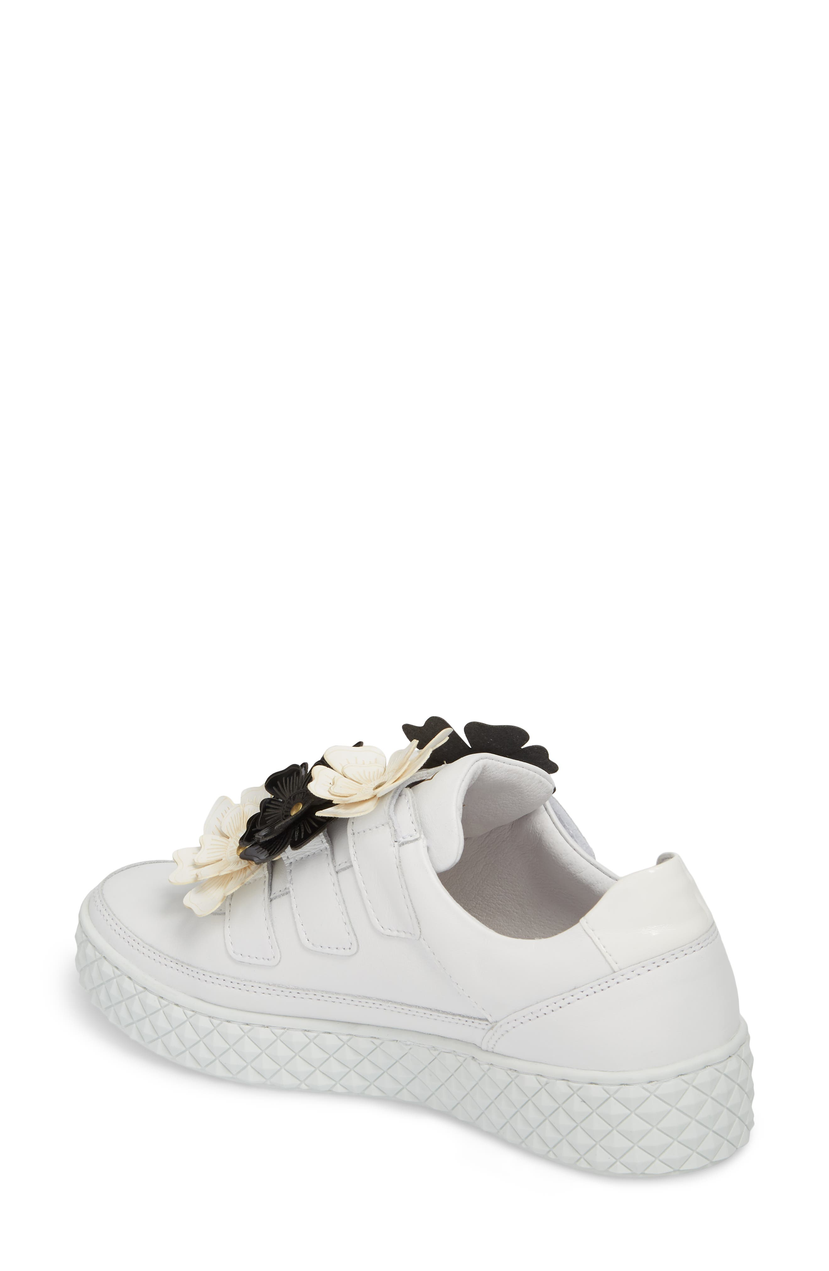 Hurou Embellished Sneaker,                             Alternate thumbnail 2, color,                             Optic White/ Black Leather