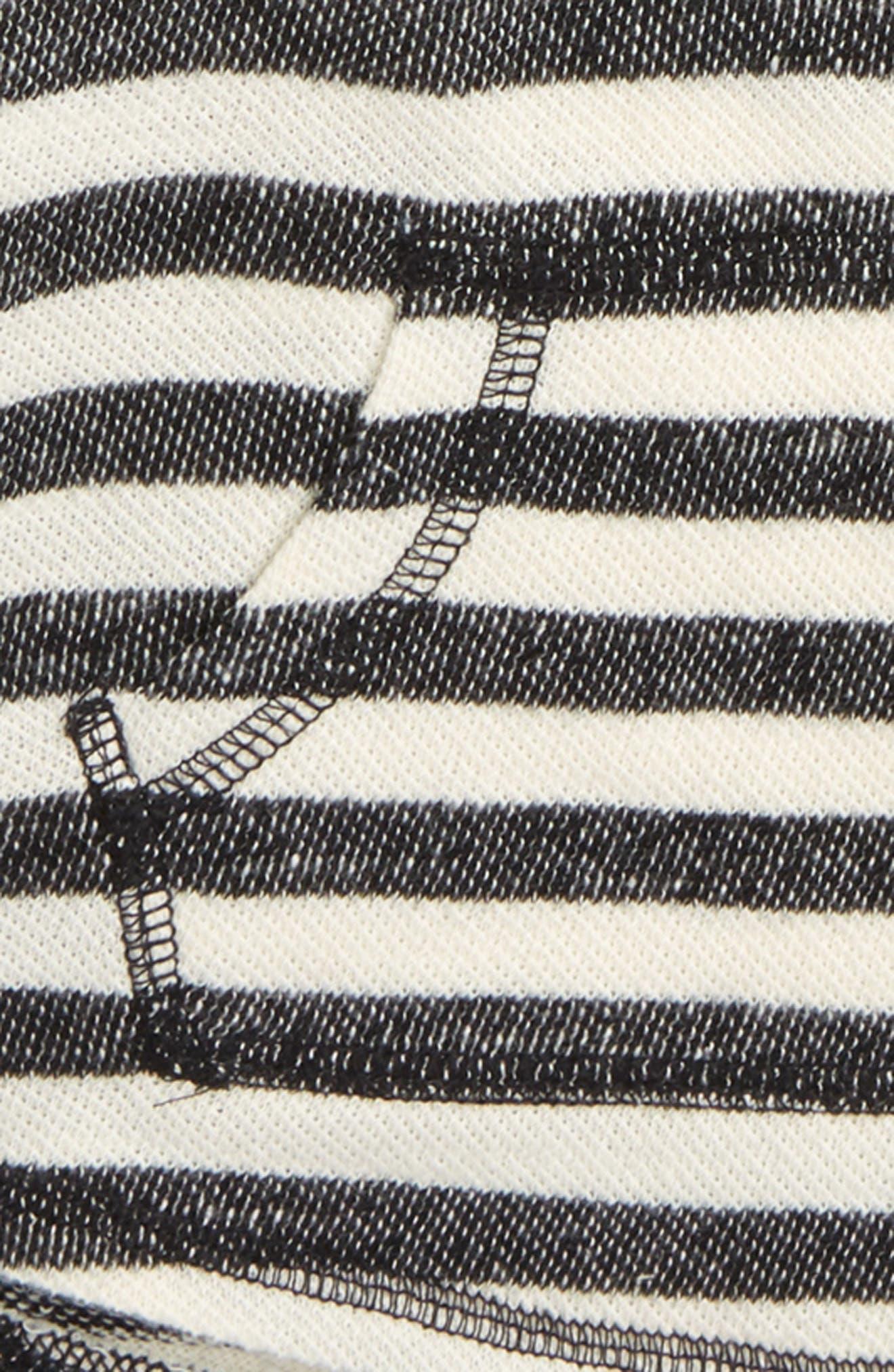 Stripe Henley Hoodie,                             Alternate thumbnail 2, color,                             Black- Ivory Stripe