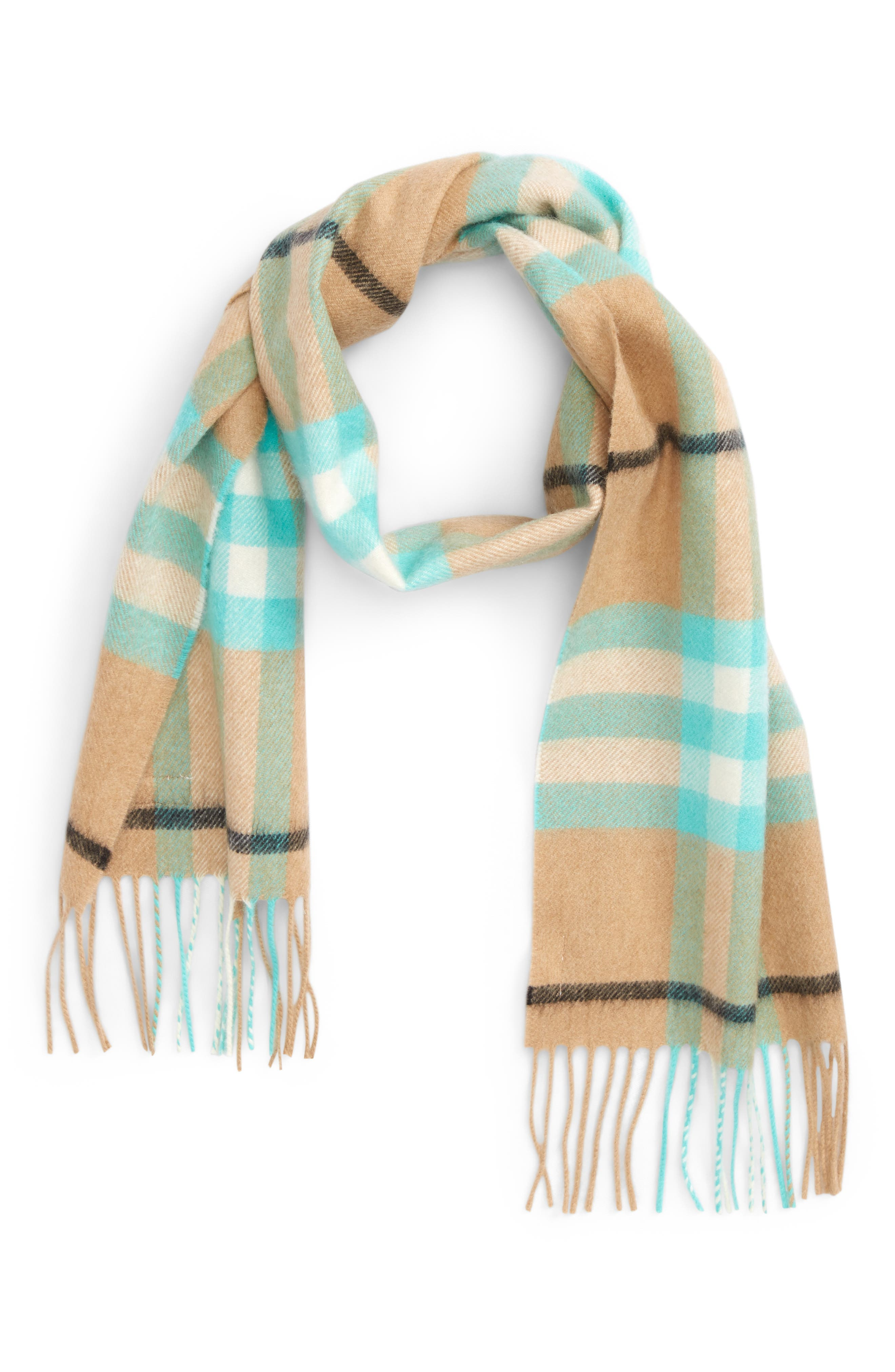 Exploded Giant Check Fringe Cashmere Scarf,                         Main,                         color, Fluro Turqoise