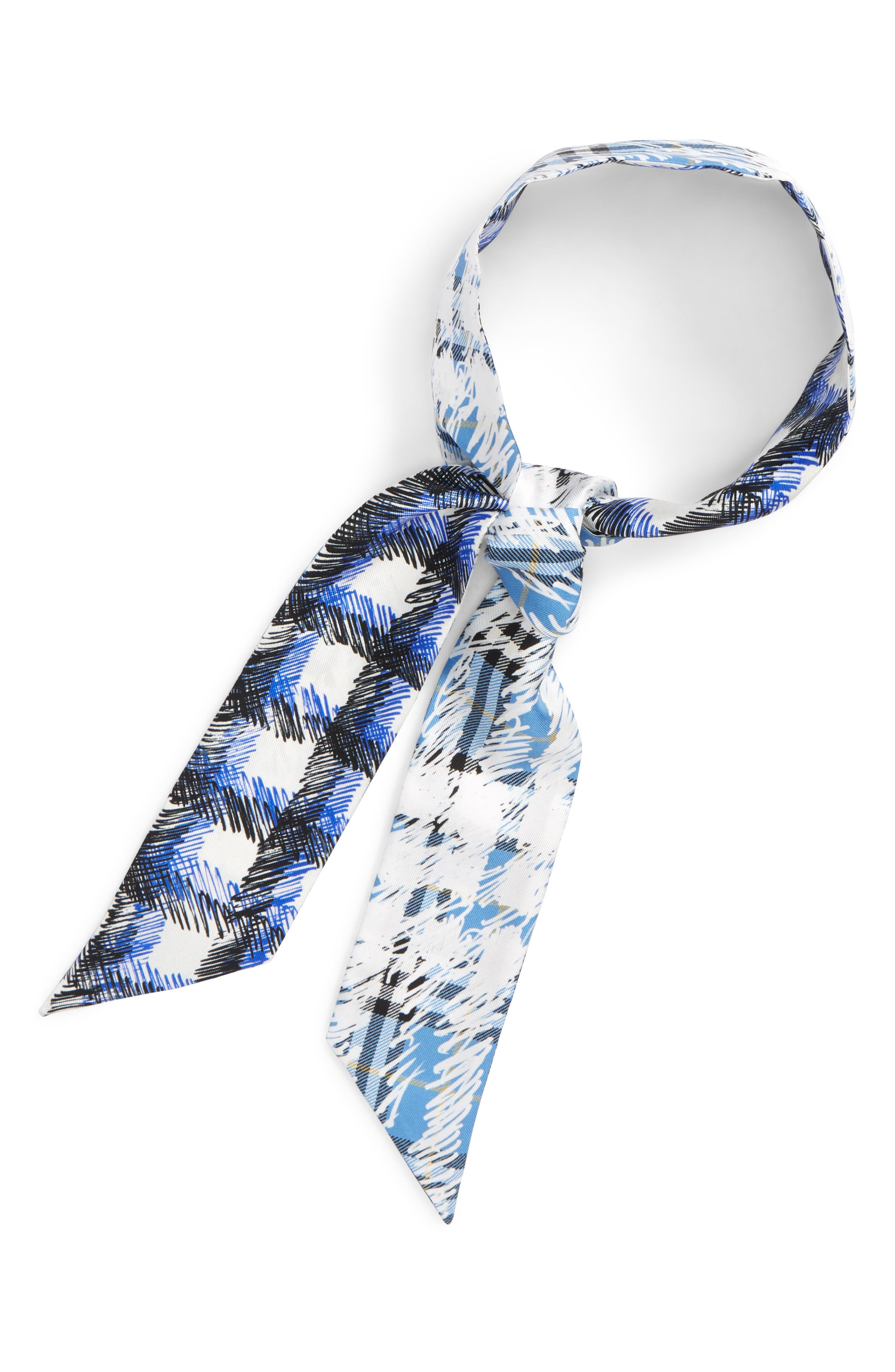 Scribble Check Silk Skinny Scarf,                         Main,                         color, Light Azure