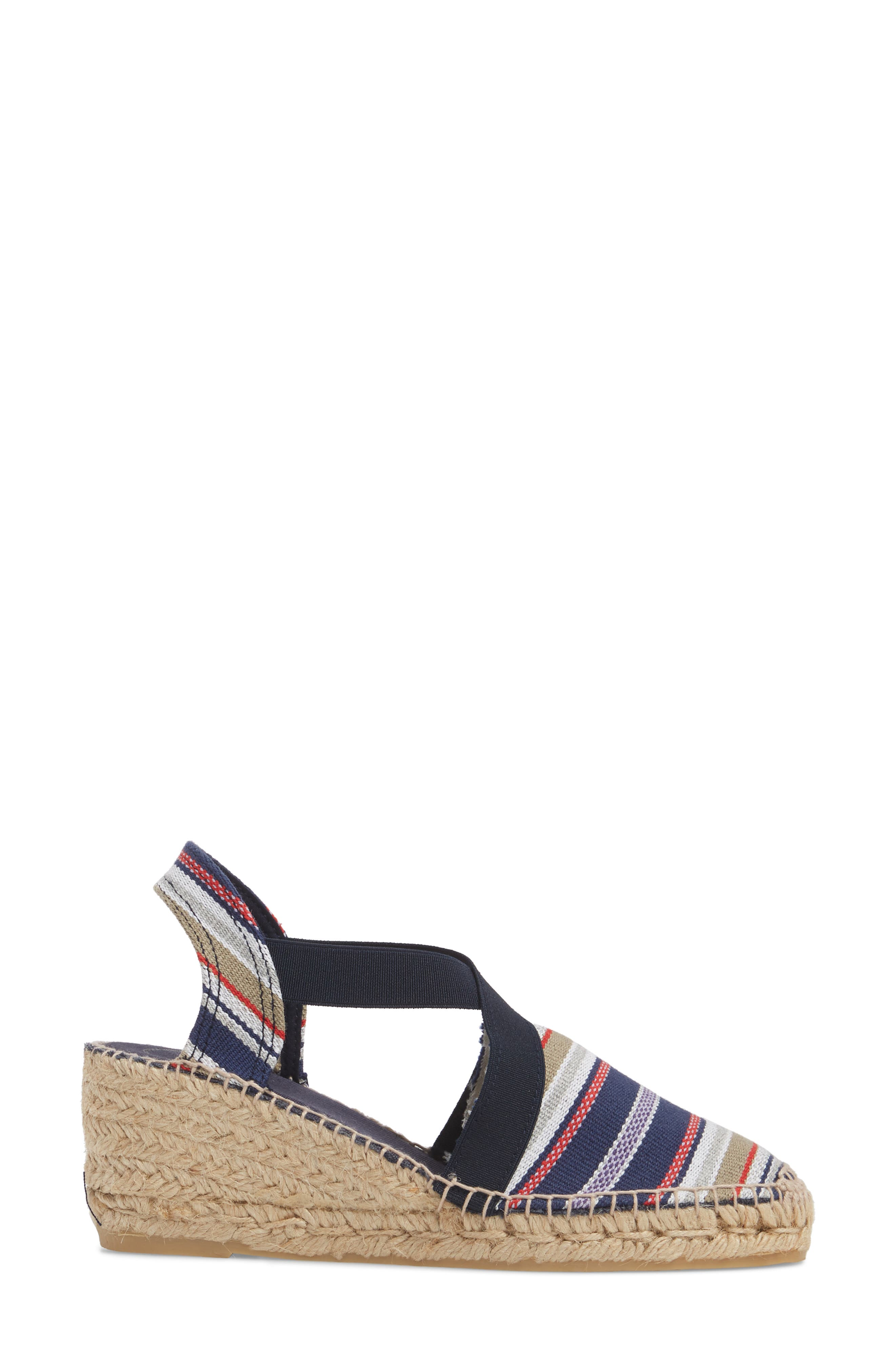 'Tarbes' Espadrille Wedge Sandal,                             Alternate thumbnail 3, color,                             Navy Fabric