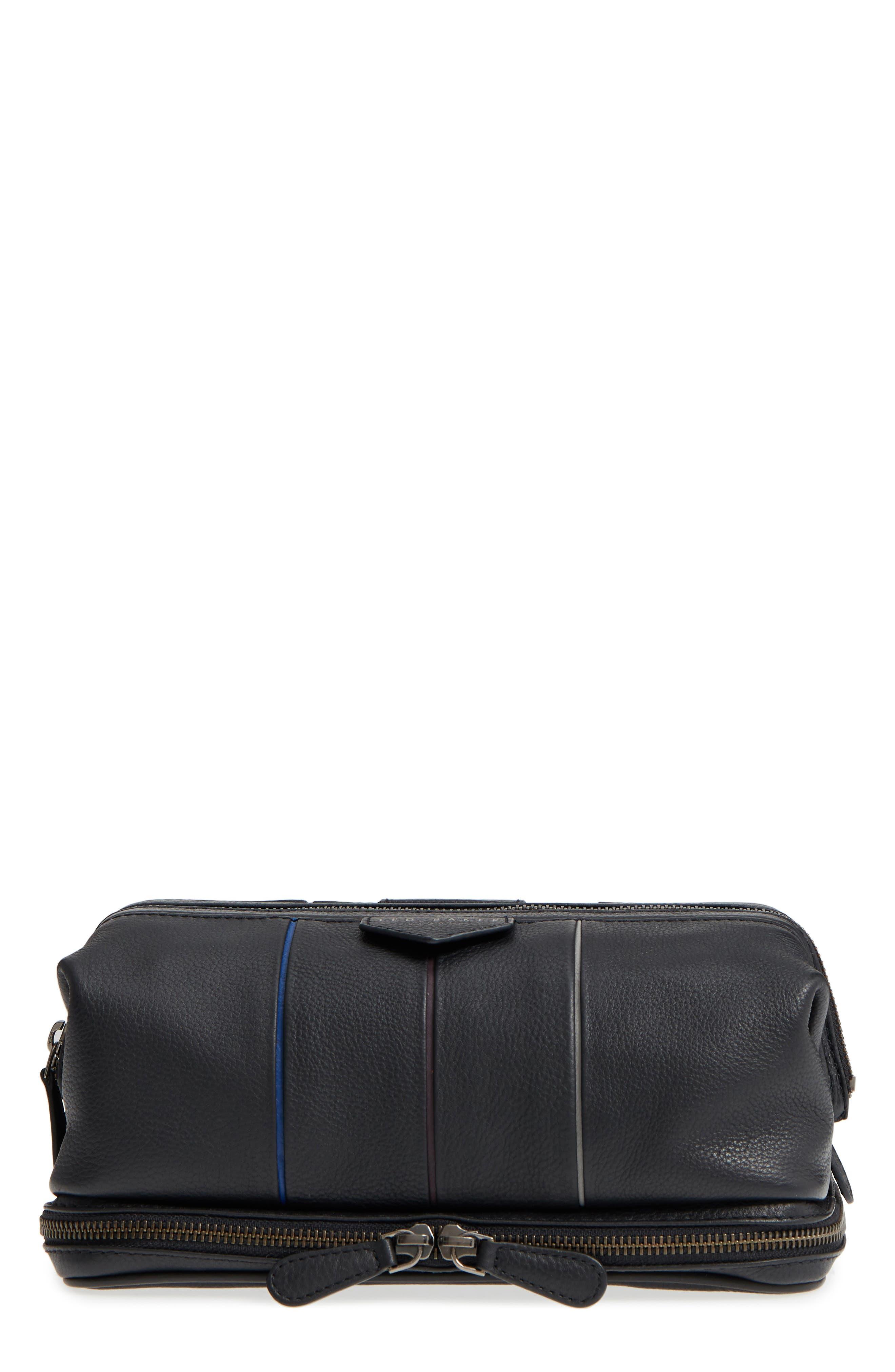 Teekee Leather Dopp Kit,                         Main,                         color, Black