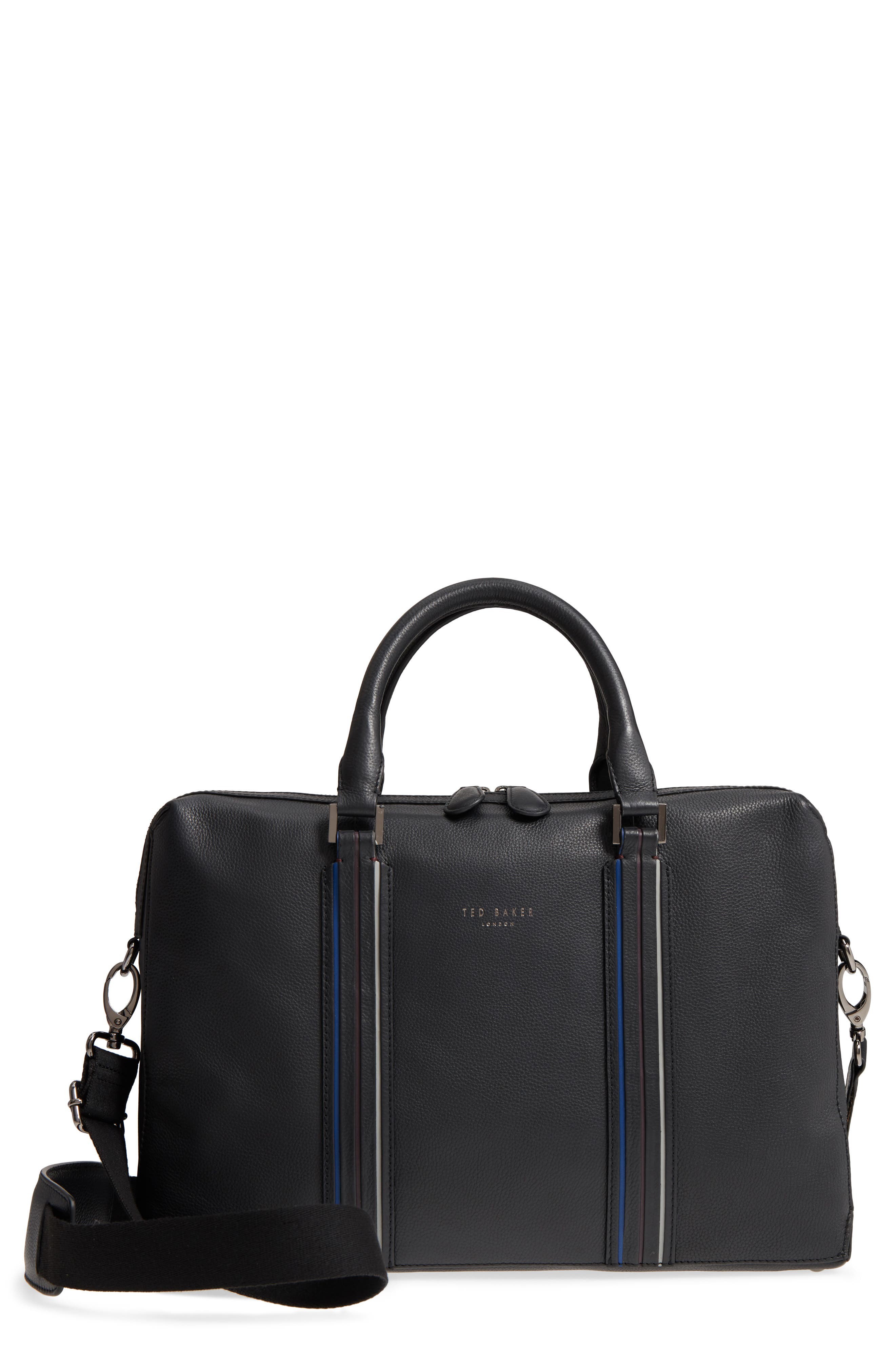 Walave Leather Document Briefcase,                         Main,                         color, Black