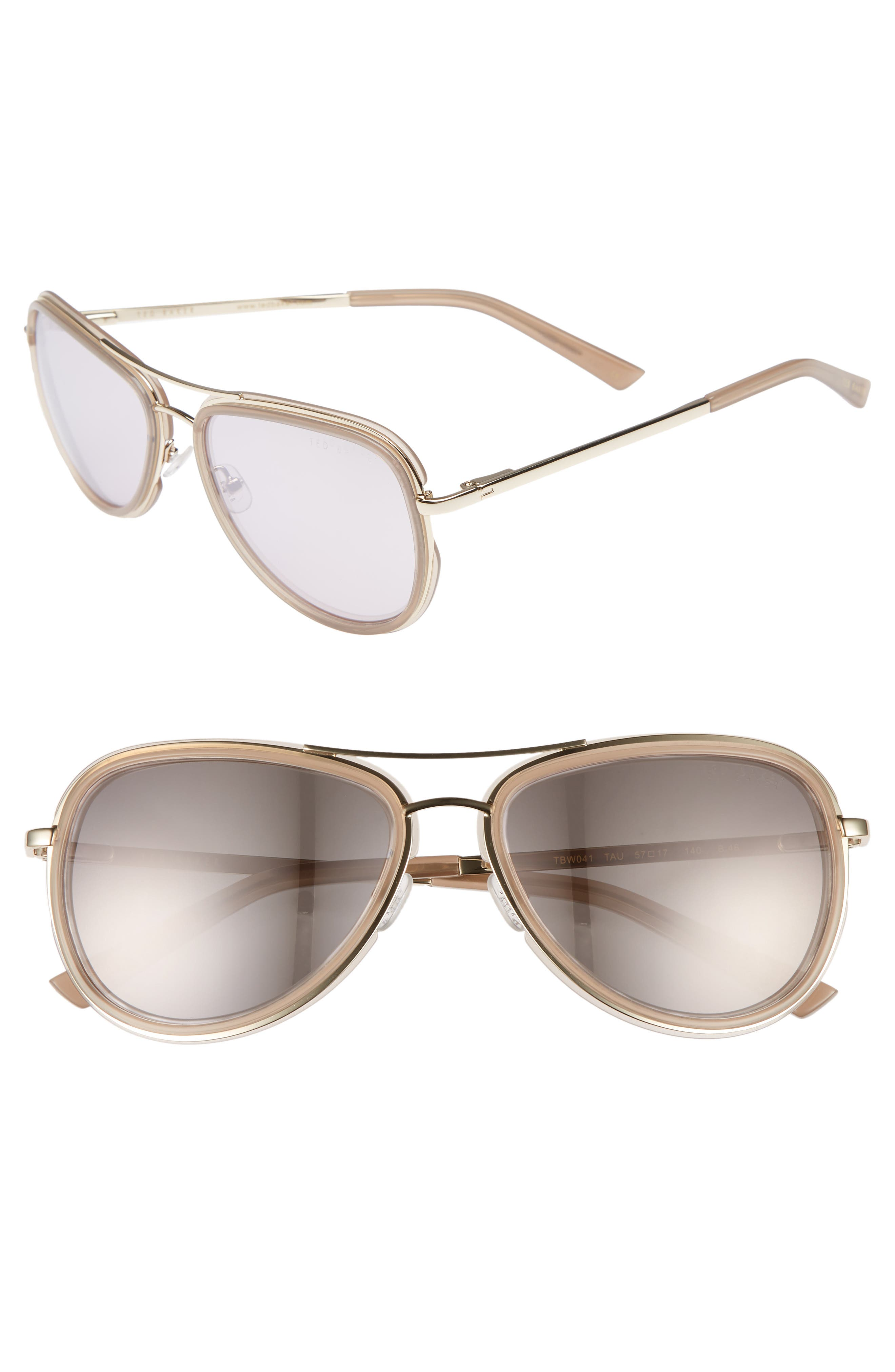 Combination 57mm Aviator Sunglasses,                         Main,                         color, Taupe