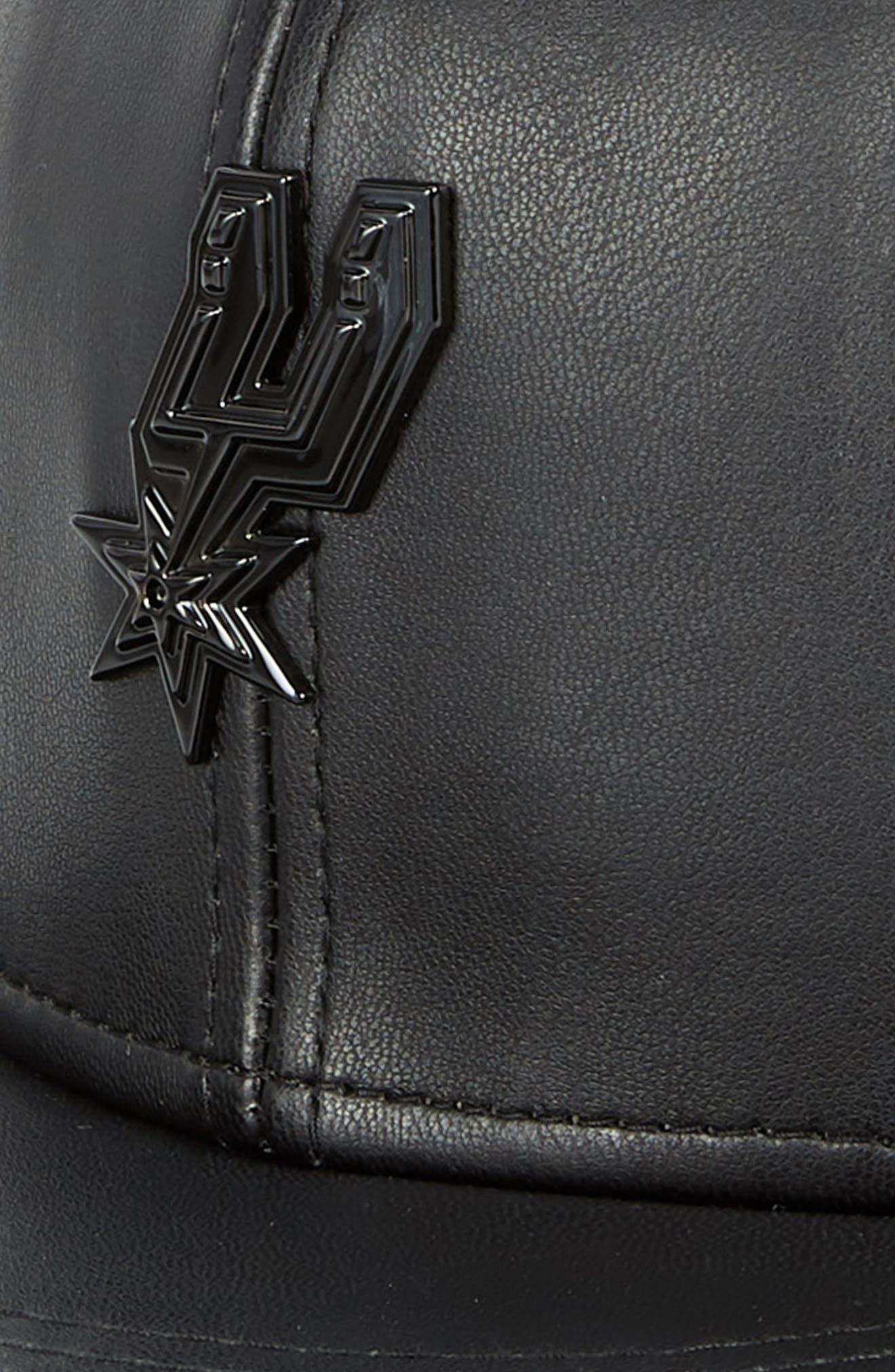 New Era NBA Glossy Faux Leather Snapback Cap,                             Alternate thumbnail 4, color,                             San Antonio Spurs