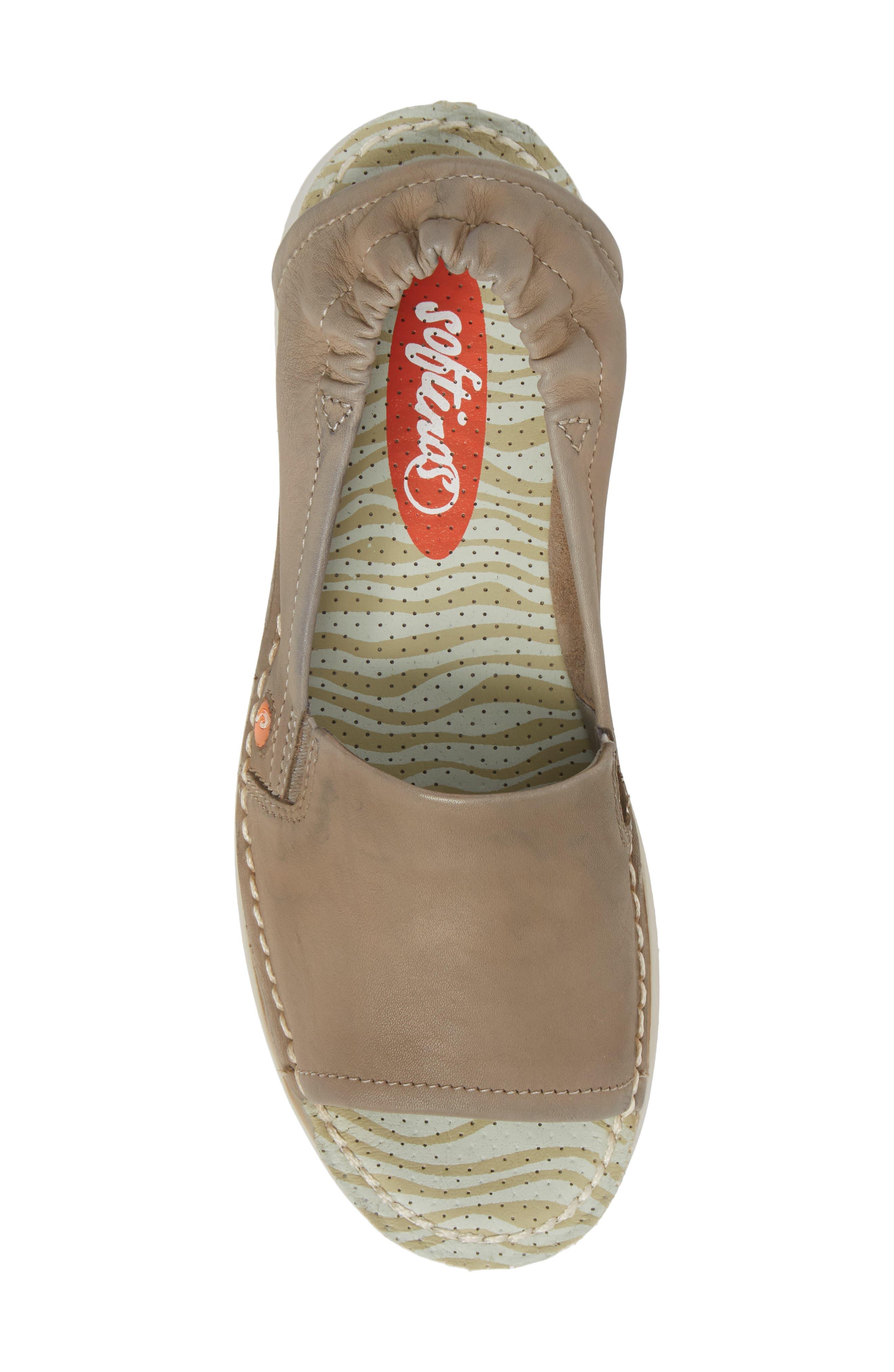 Tee Flat Sandal,                             Alternate thumbnail 5, color,                             Taupe Leather
