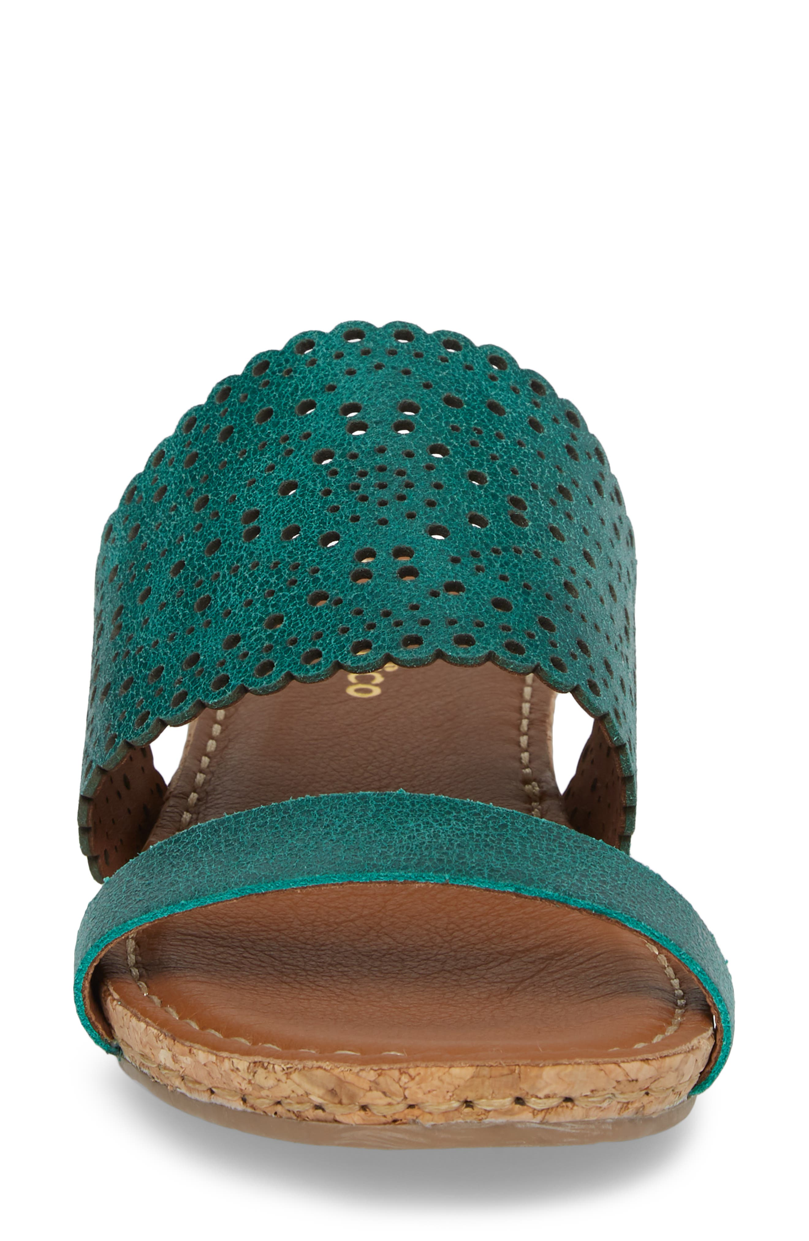 Ginette Perforated Slide Sandal,                             Alternate thumbnail 4, color,                             Ivy Leather