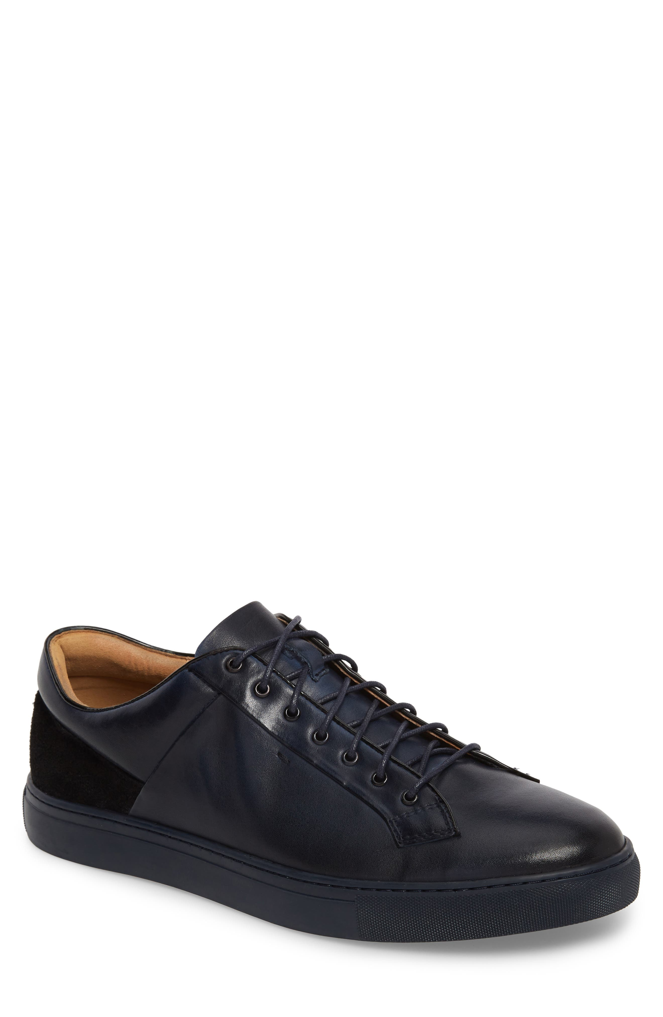 Pitch Low Top Sneaker,                             Main thumbnail 1, color,                             Navy Leather/ Suede